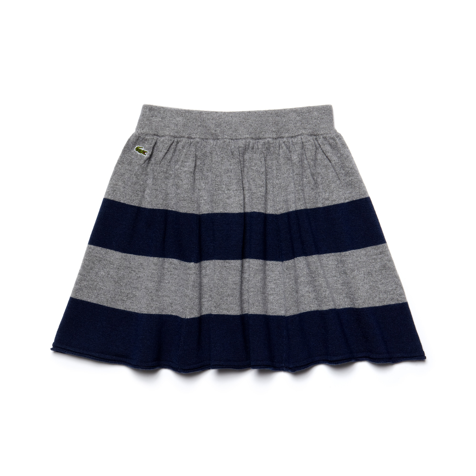 Kids' Striped Wool And Cotton Flared Skirt