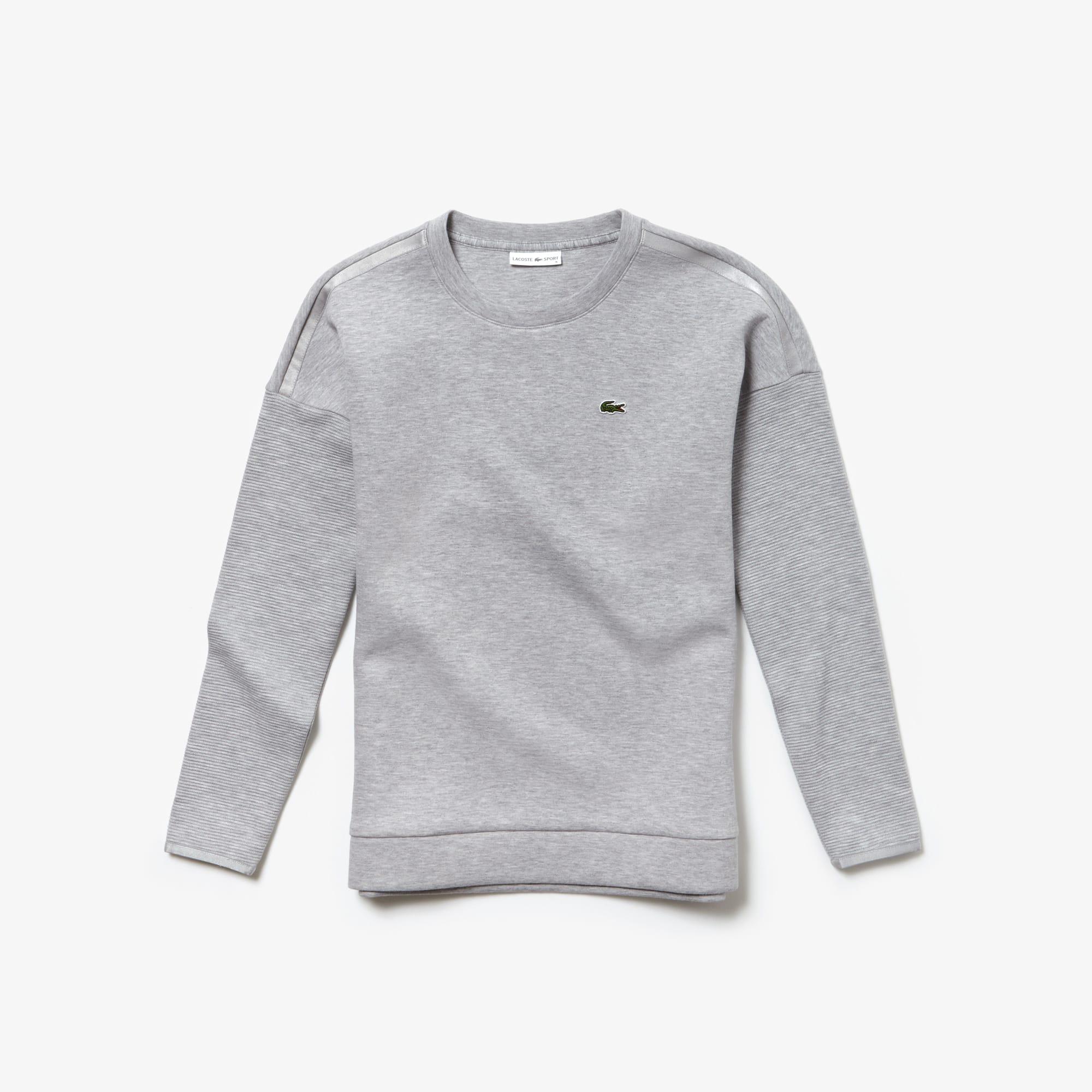 라코스테 Lacoste Womens SPORT Fleece Tennis Sweatshirt,Grey Chine / Light Grey