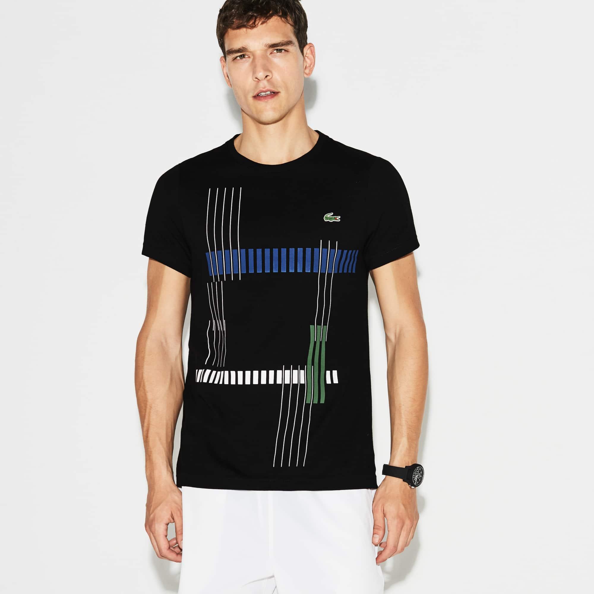 Men's  SPORT Tennis Striped Design Tech Jersey T-shirt
