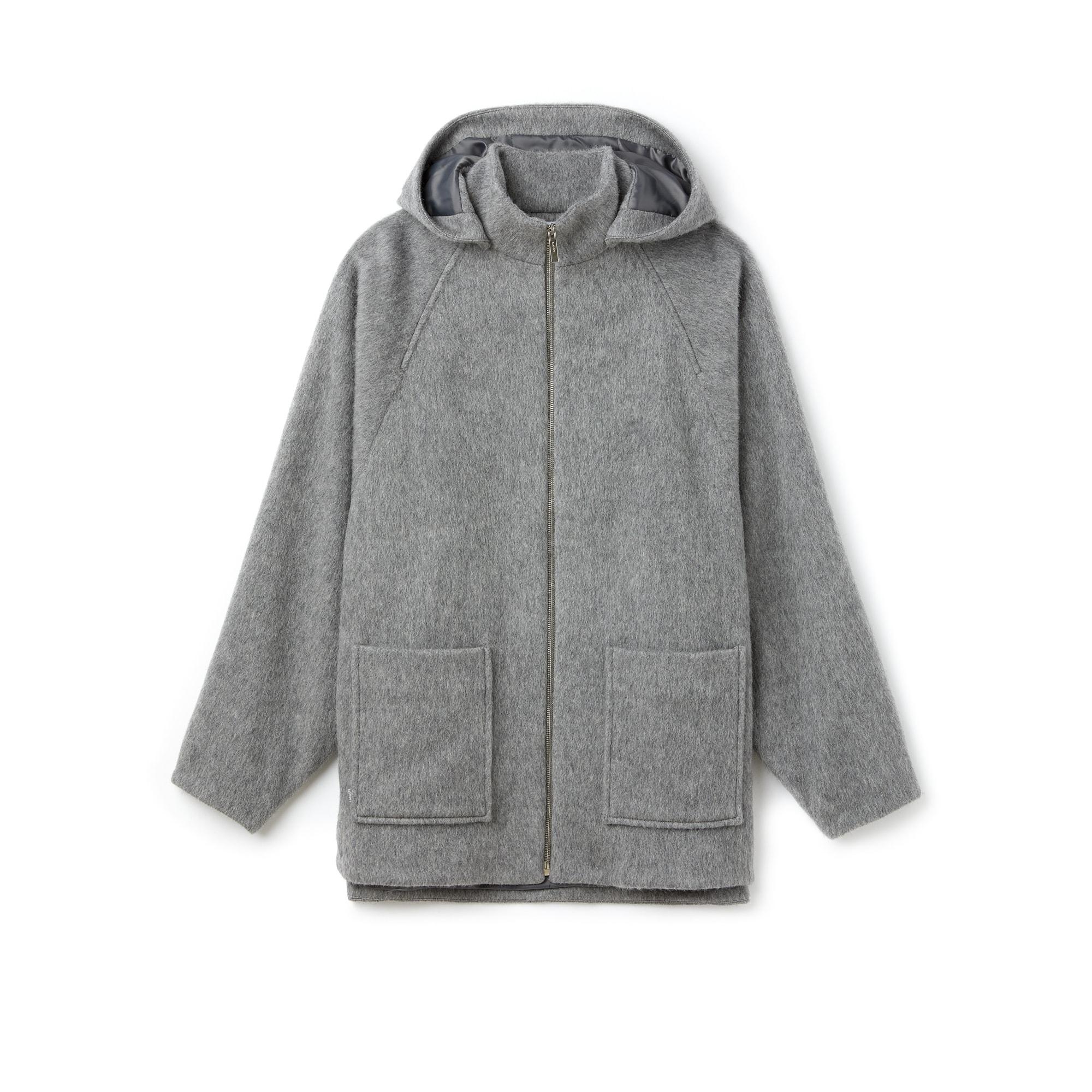 라코스테 울 후드 반코트 Lacoste Womens Wool And Mohair Broadcloth Short Coat,STONE GREY