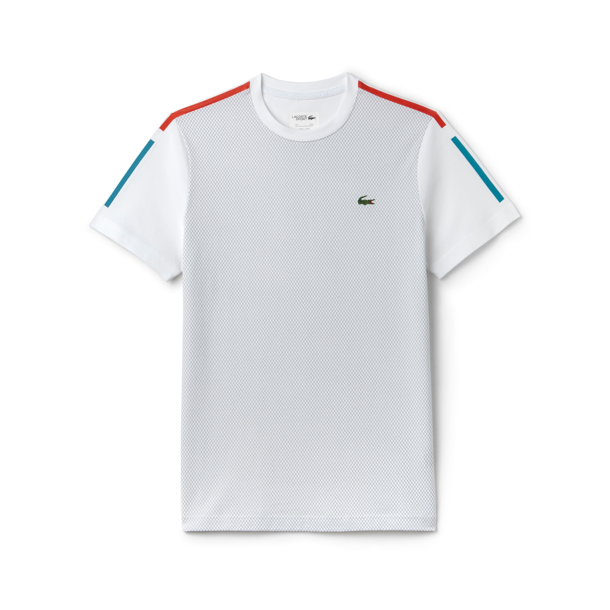Men's SPORT Light Net Print Knit Crew Neck Tennis T-Shirt