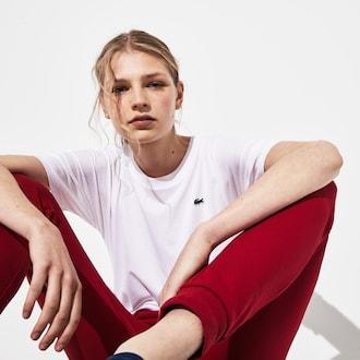 라코스테 우먼 스포츠 테니스 티셔츠 Lacoste Womens SPORT Back-Stripe Tennis T-shirt