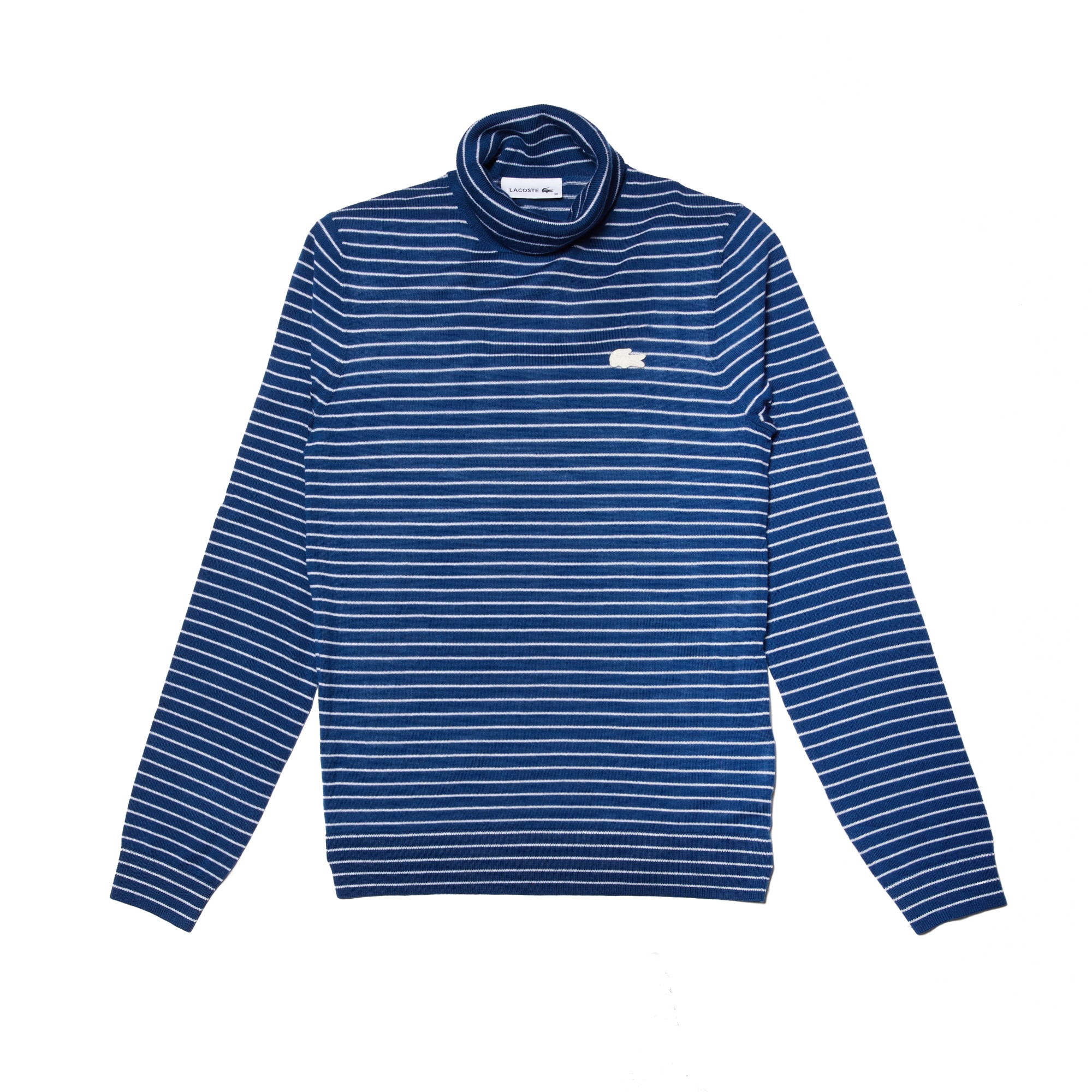 Women's Turtleneck Striped Wool Jersey Sweater