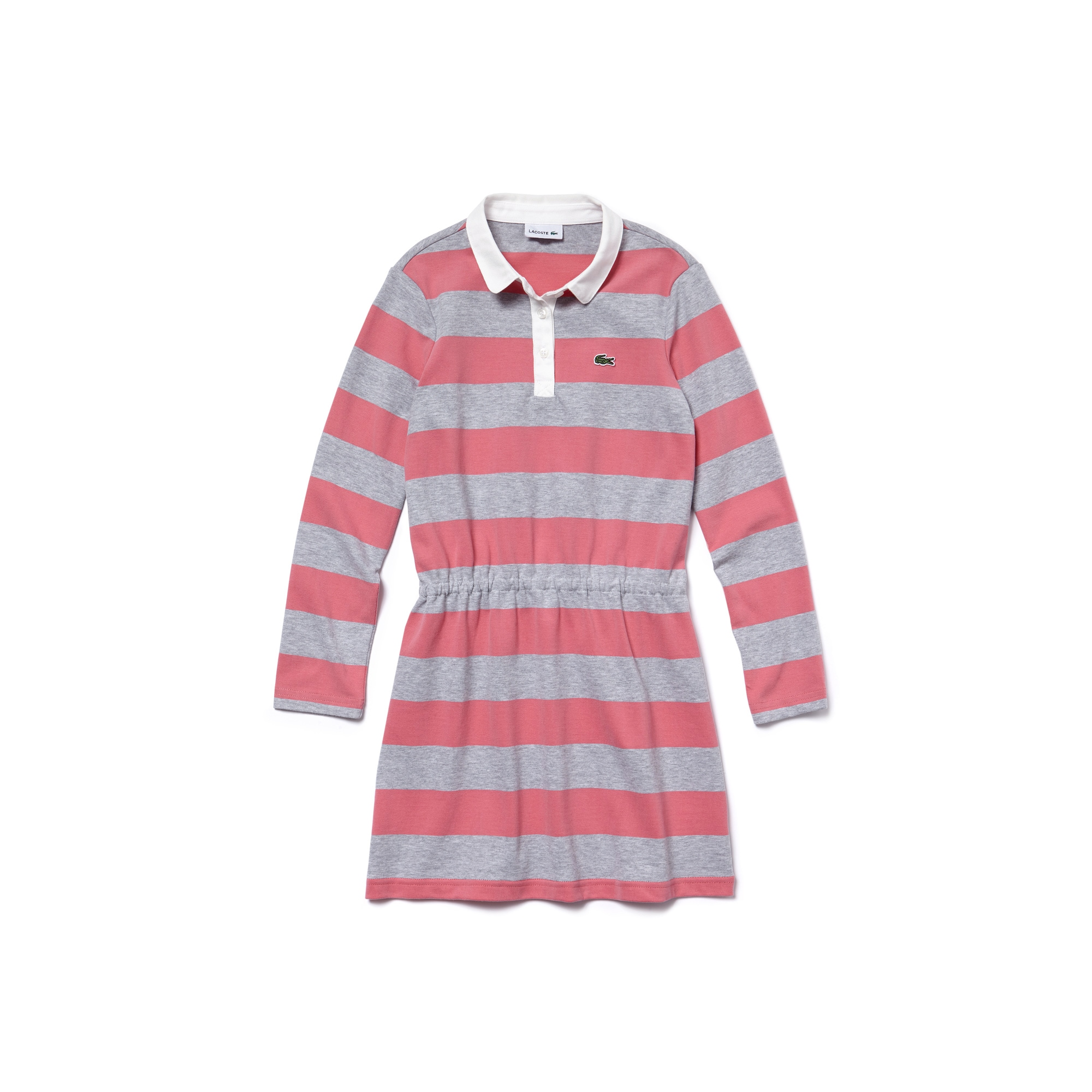 Girls' Bicolor Striped Jersey Fitted Polo Dress