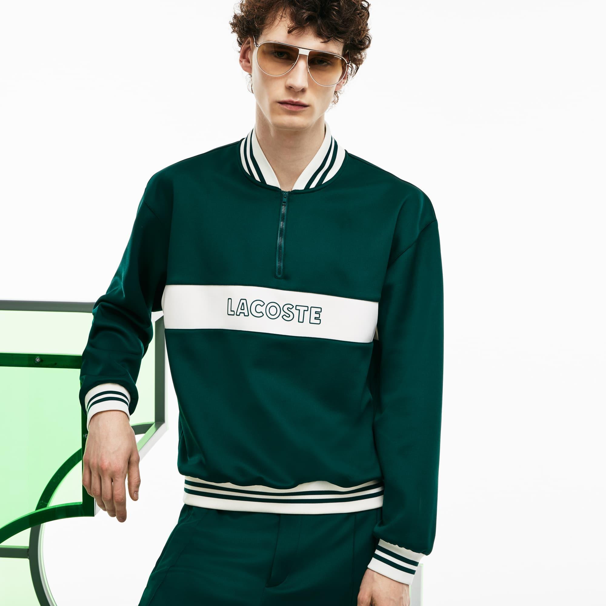 Men's Fashion Show Zippered Banana Collar Neoprene Sweatshirt
