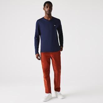 라코스테 브이넥  티셔츠 Lacoste Mens V-Neck Pima Cotton Jersey T-shirt,Navy Blue