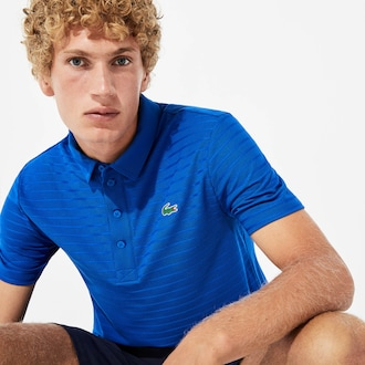 라코스테 스포츠 골프 폴로 셔츠 Lacoste Mens SPORT Golf Striped Tech Jacquard Jersey Polo Shirt,Blue