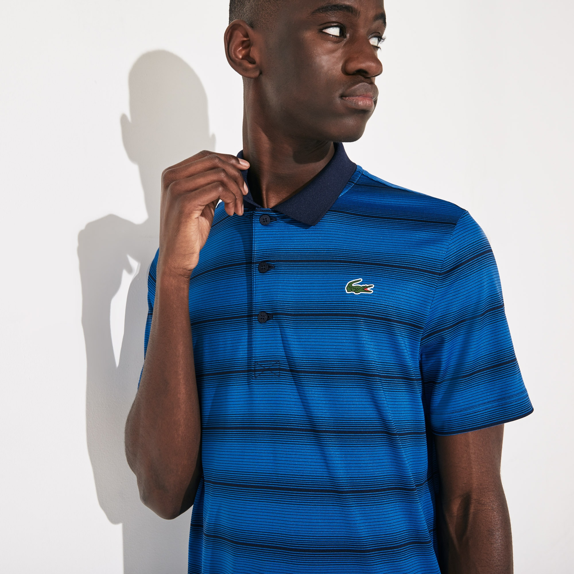 라코스테 Lacoste Mens SPORT Striped Breathable Golf Polo Shirt,Blue / Navy Blue - XRY