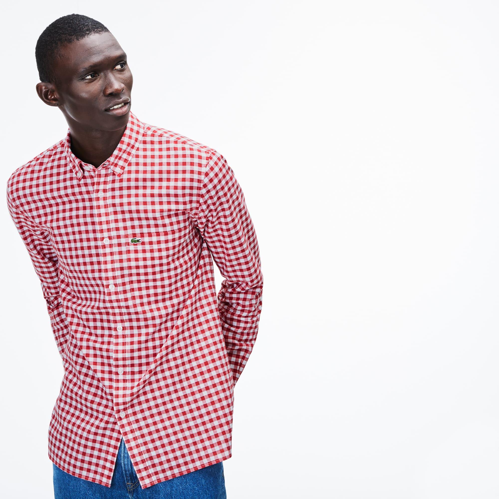 Men's Regular Fit Check Cotton And Linen Blend Shirt