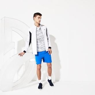 라코스테 스포츠 자켓 Lacoste Mens SPORT Novak Djokovic Full-Zip Jacket,White / Navy Blue