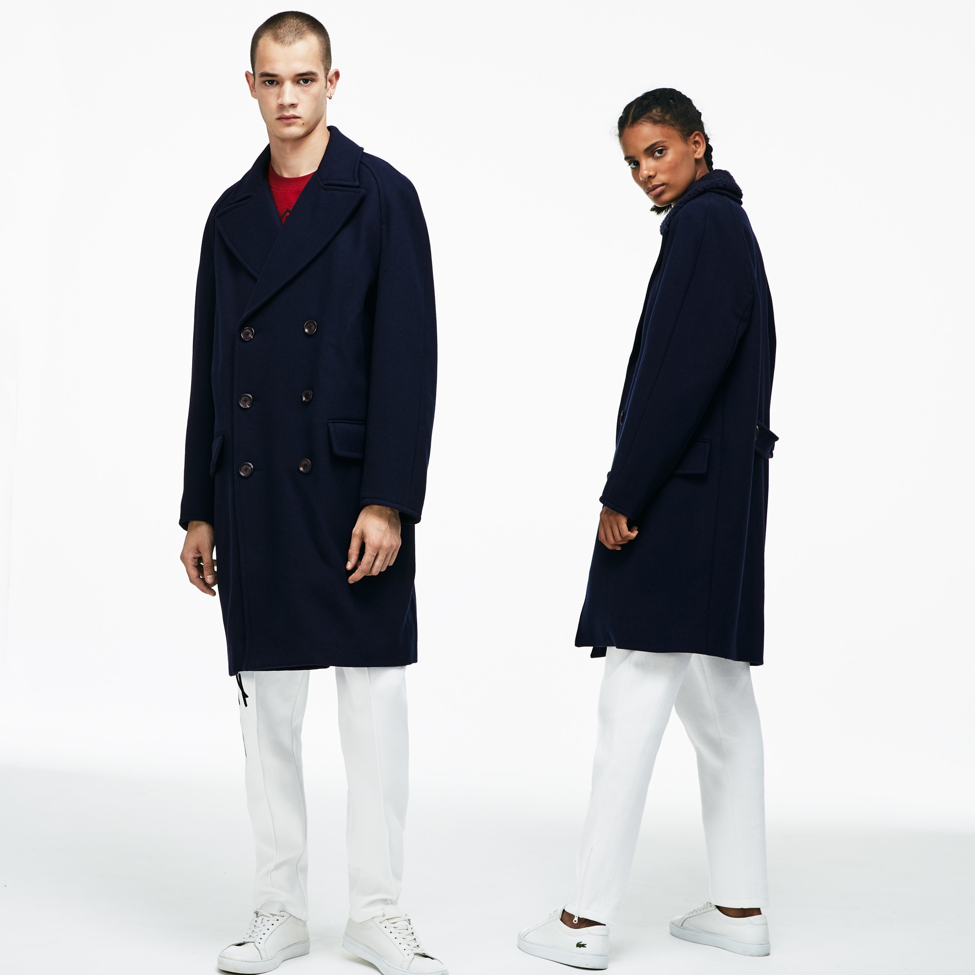 Unisex LIVE Wool Broadcloth Buttoned Pea Coat