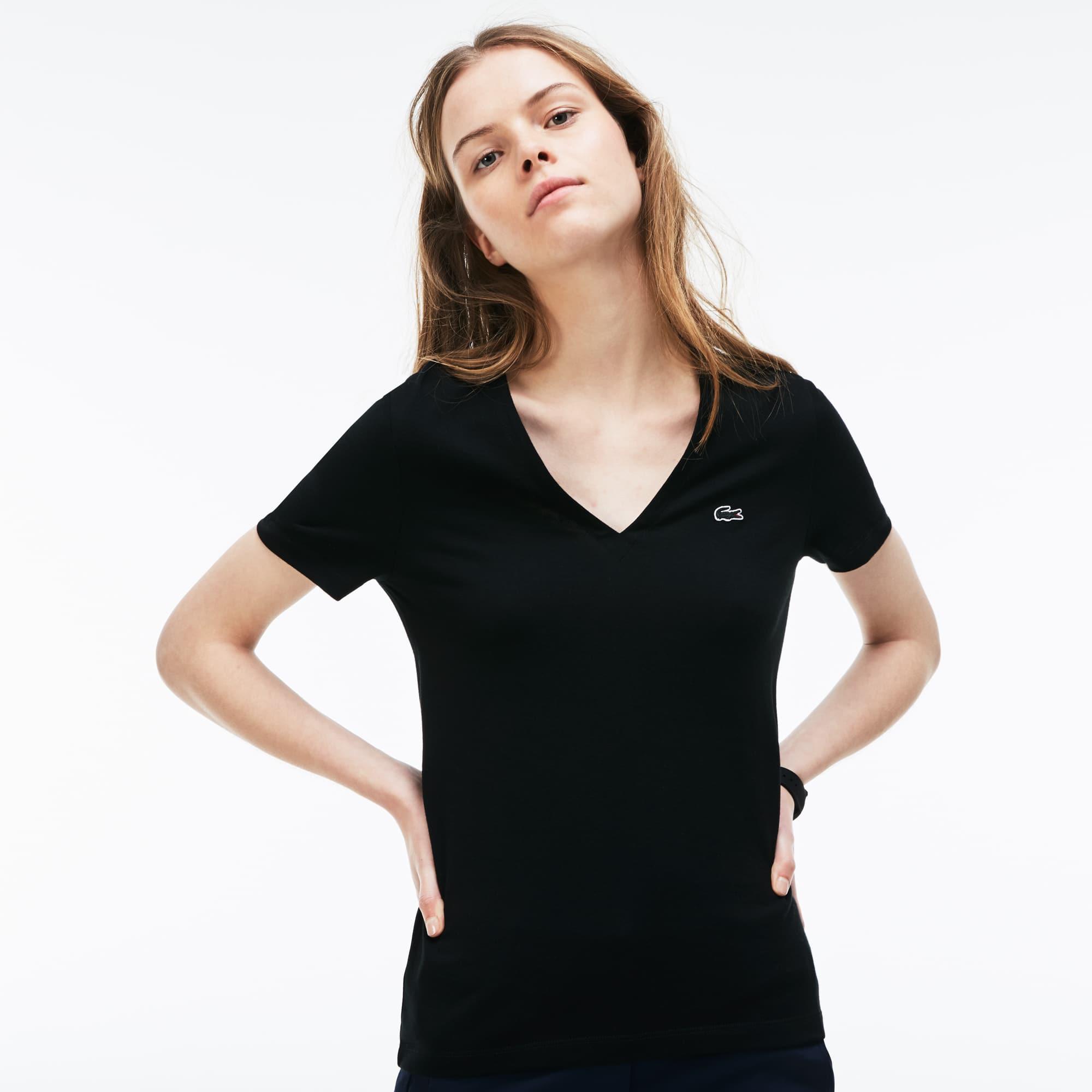 T-shirt col V slim fit en jersey de coton