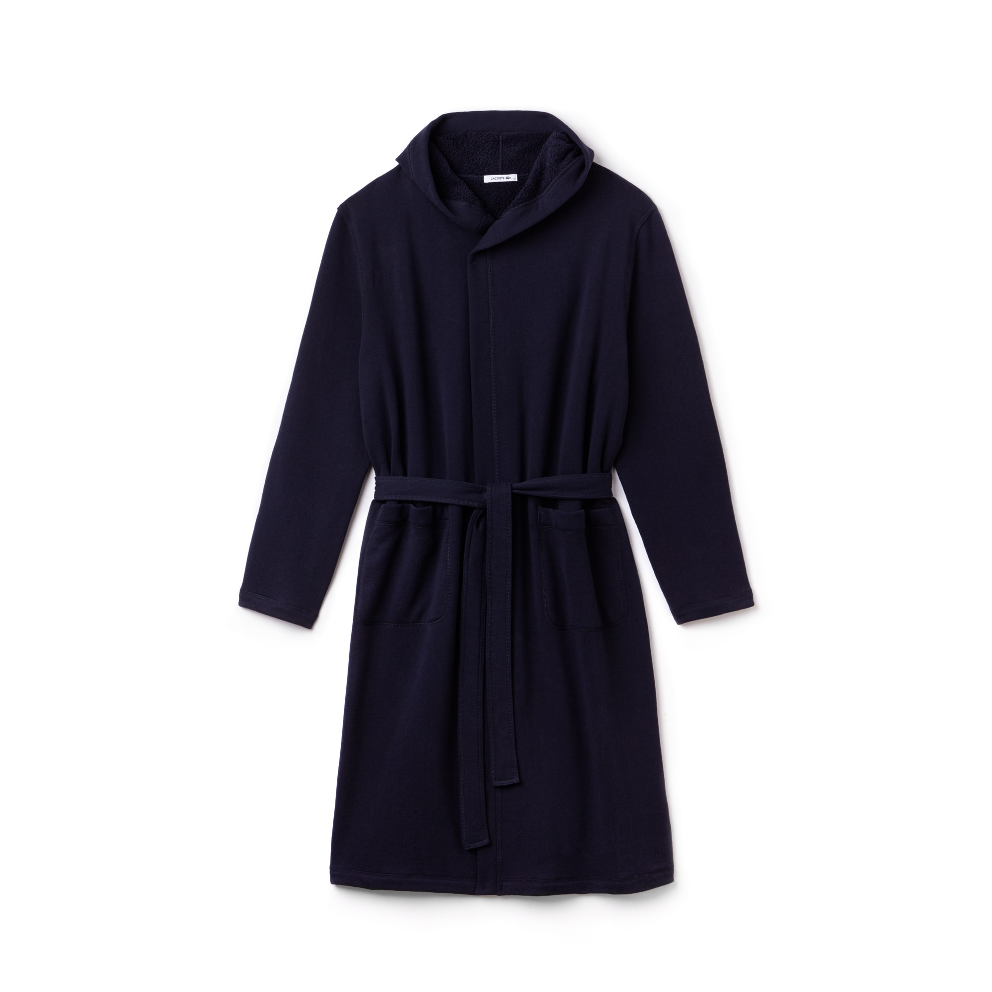 Men's Fashion Show Long Hooded Belted Fleece Crossover Coat