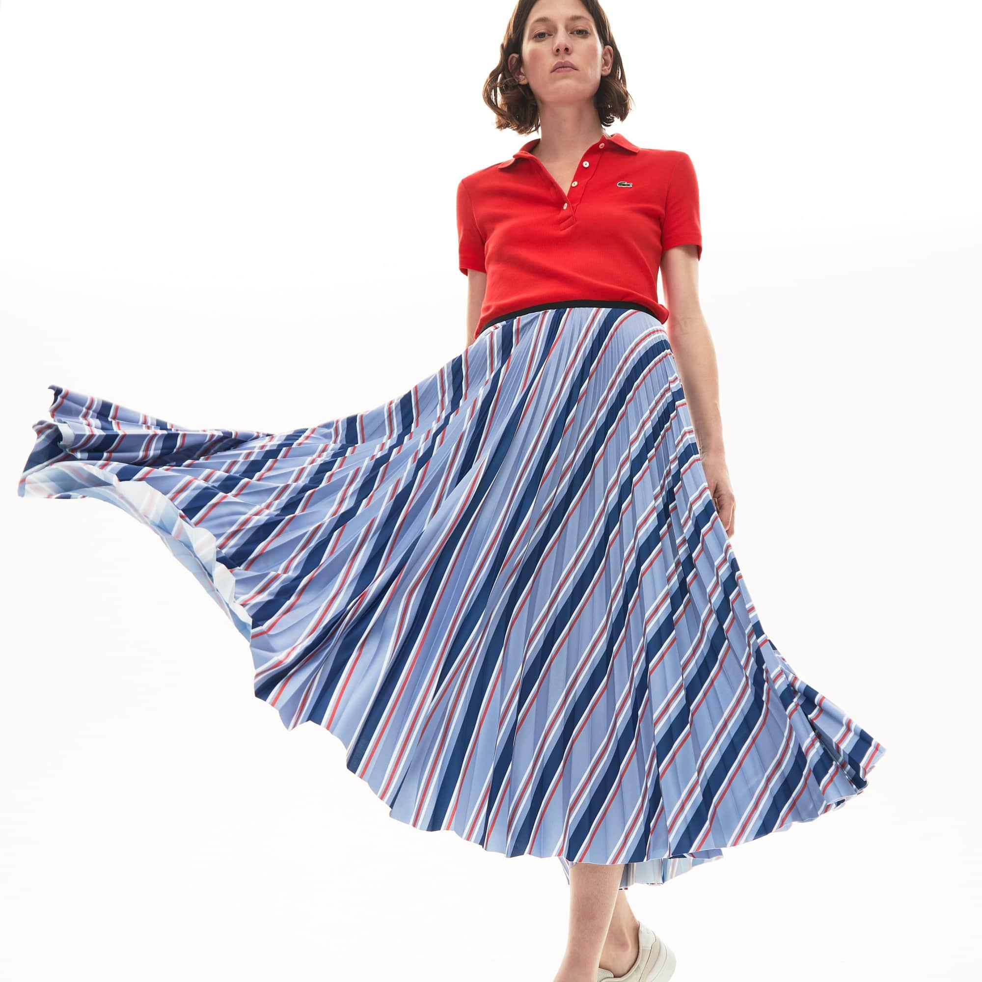 라코스테 멀티컬러 스트라이프 주름 스커트 Lacoste Womens MultiColor Striped Pleated Skirt