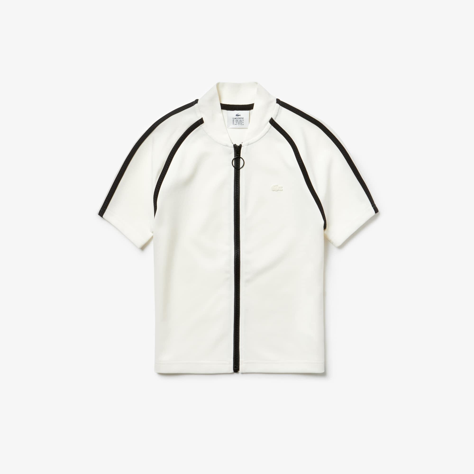 라코스테 라이브 폴로 반팔 티셔츠 슬림핏 집업 Lacoste Womens LIVE Slim Fit Polo,White / Black