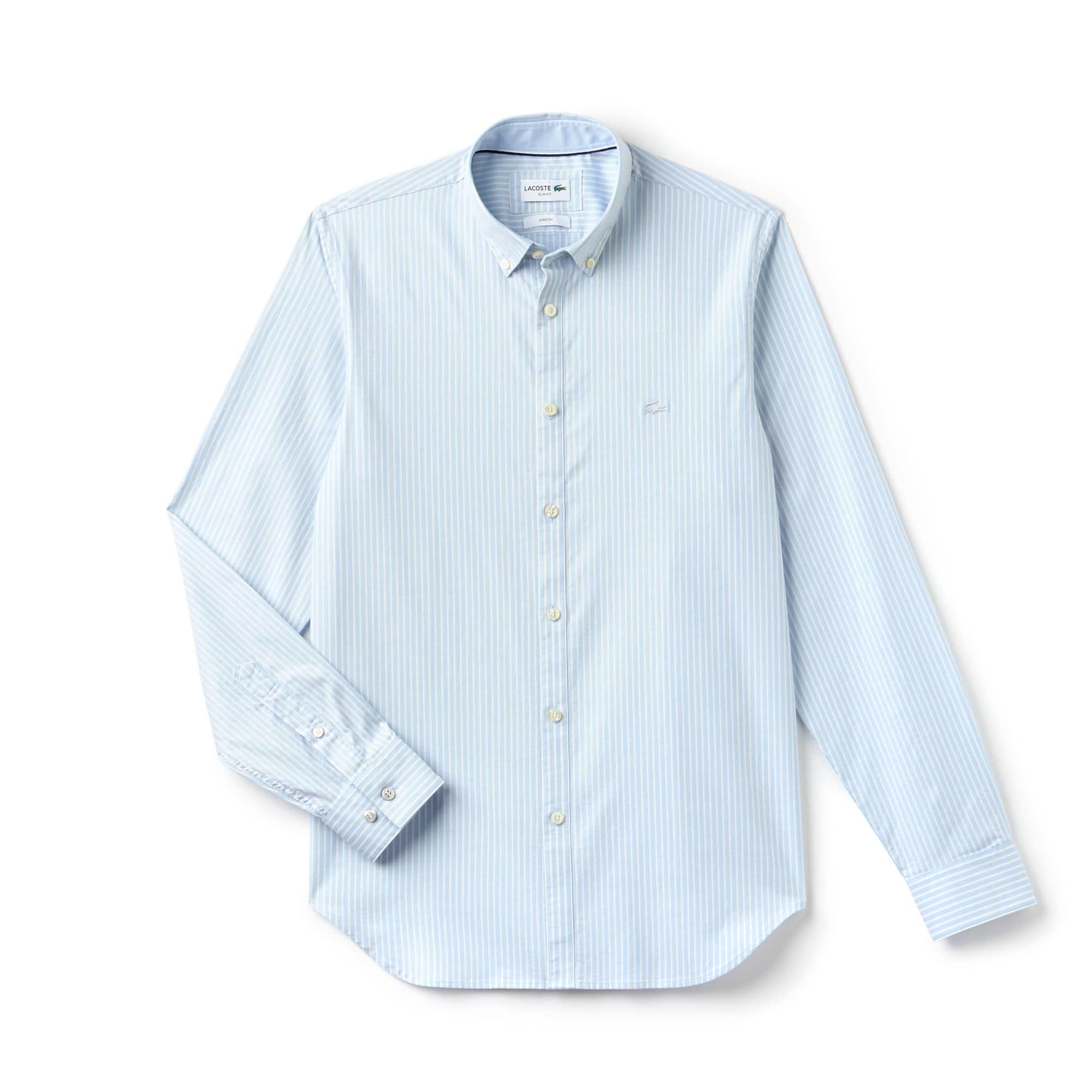 라코스테 Lacoste Mens Slim Fit Striped Stretch Cotton Pinpoint Shirt,lagoon/calcutta yellow-wh