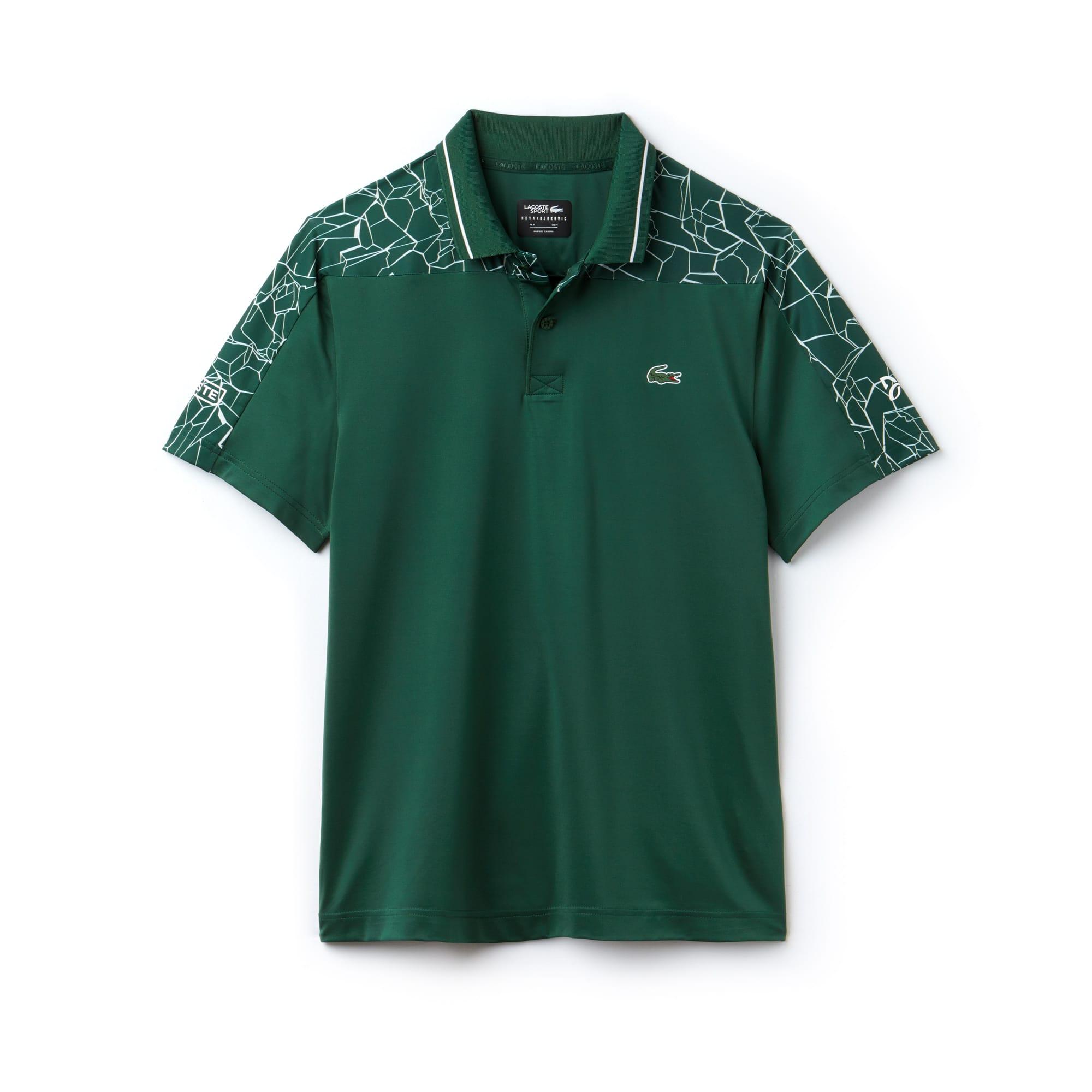 라코스테 Lacoste Mens SPORT Stretch Technical Jersey Polo - x Novak Djokovic On Court Premium Edition,olive/white