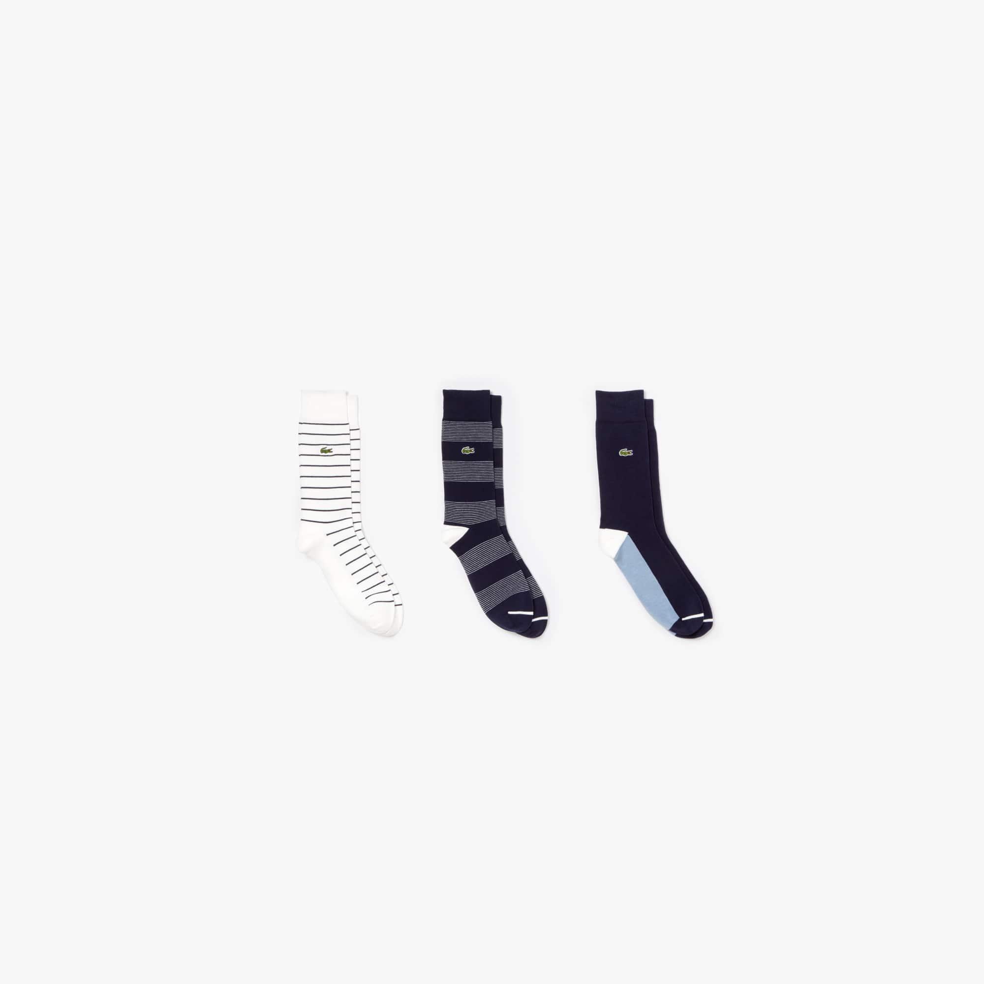 Men's Colourblock And Striped Cotton Blend Socks 3 Pack