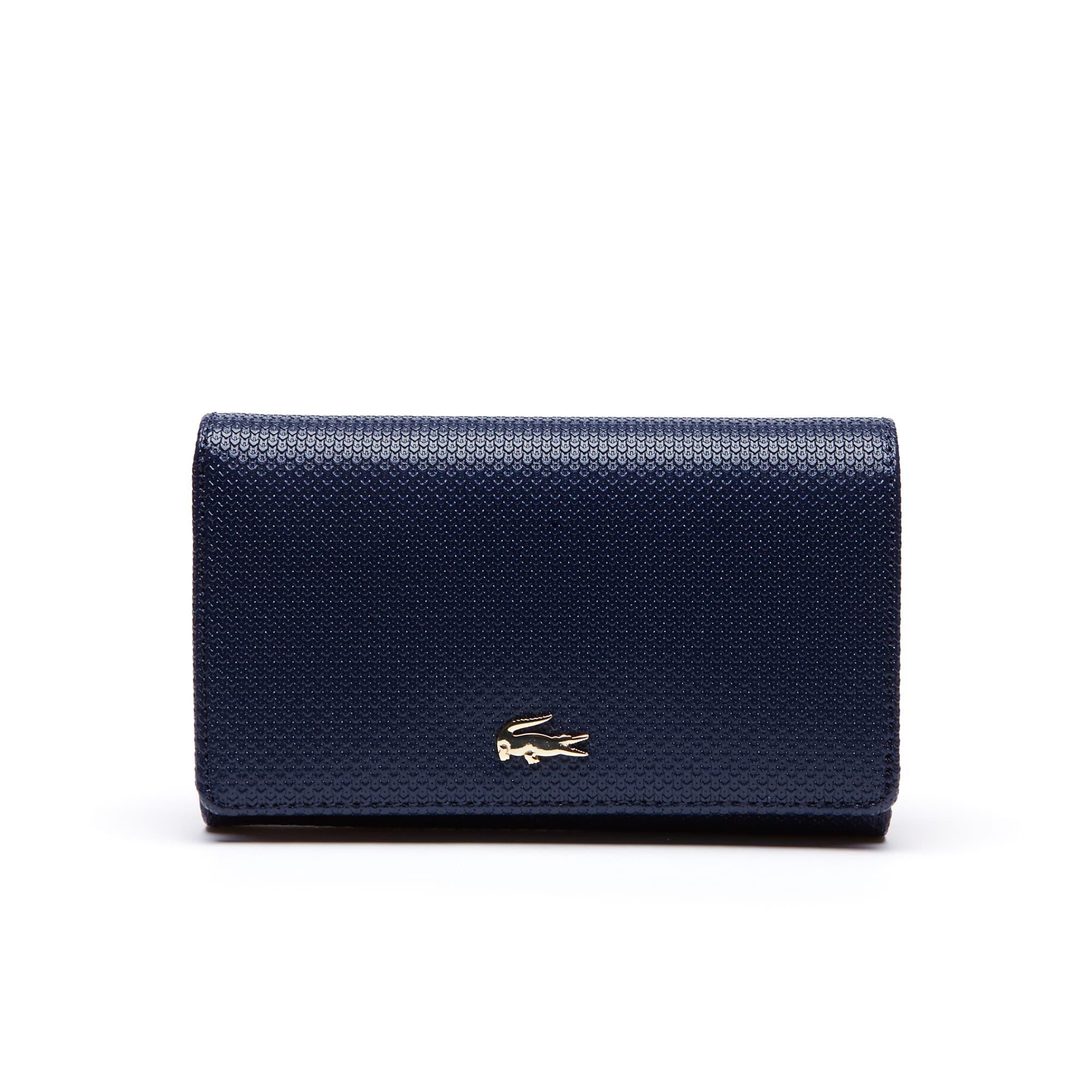 라코스테 지갑 Lacoste Womens Chantaco Bicolor Pique Leather Six Card Wallet,peacoat
