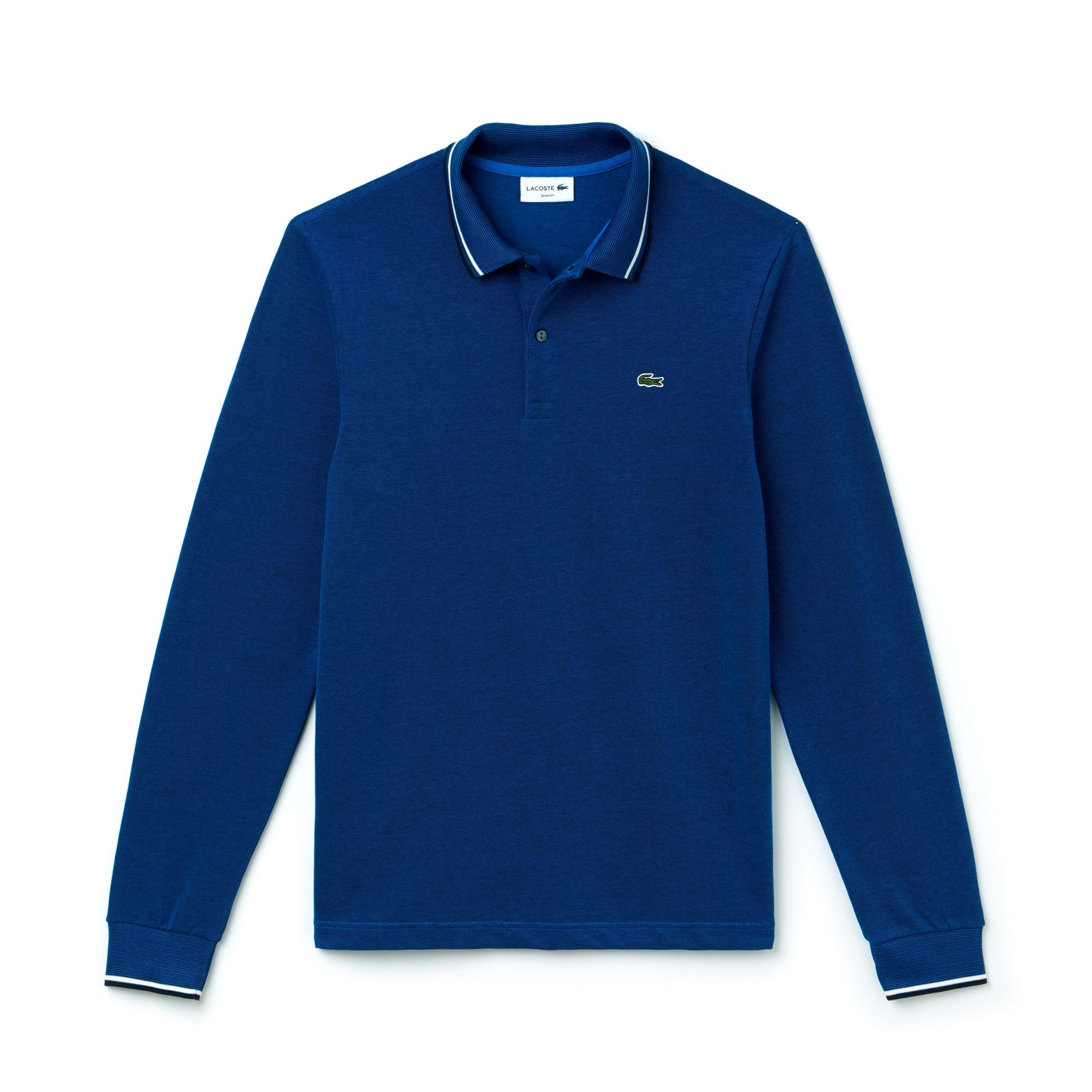 라코스테 Lacoste Mens Slim Fit Contrasting Accents Caviar Pique Polo,blue royal/dark navy blue