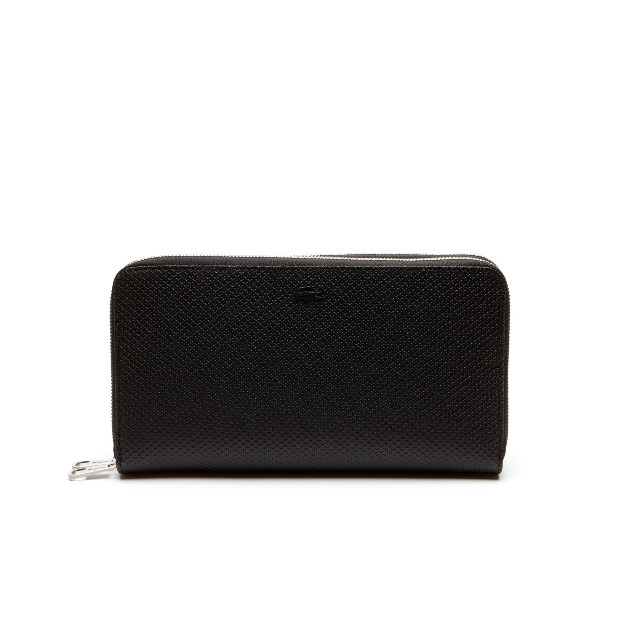 Men's Zippered Matte Leather Wallet