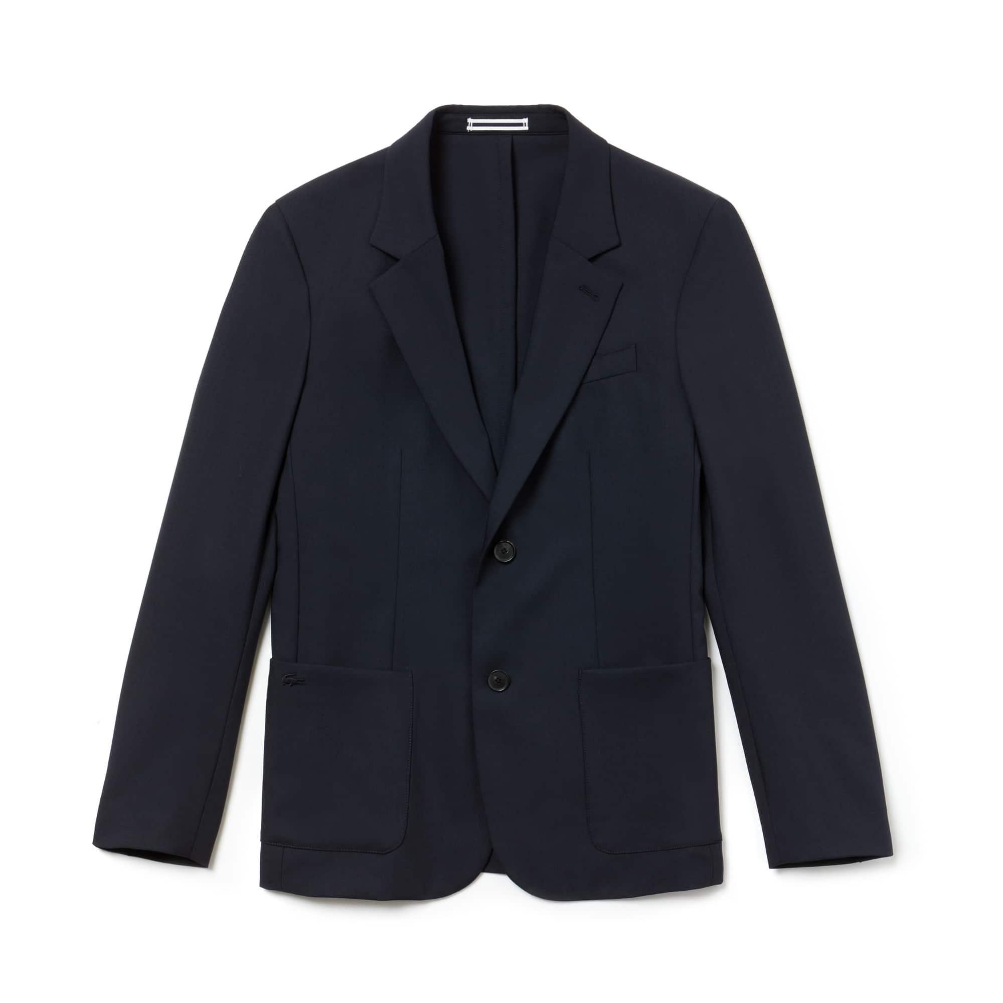 라코스테 Lacoste Mens Stretch Wool Twill Blazer,DARK NAVY BLUE