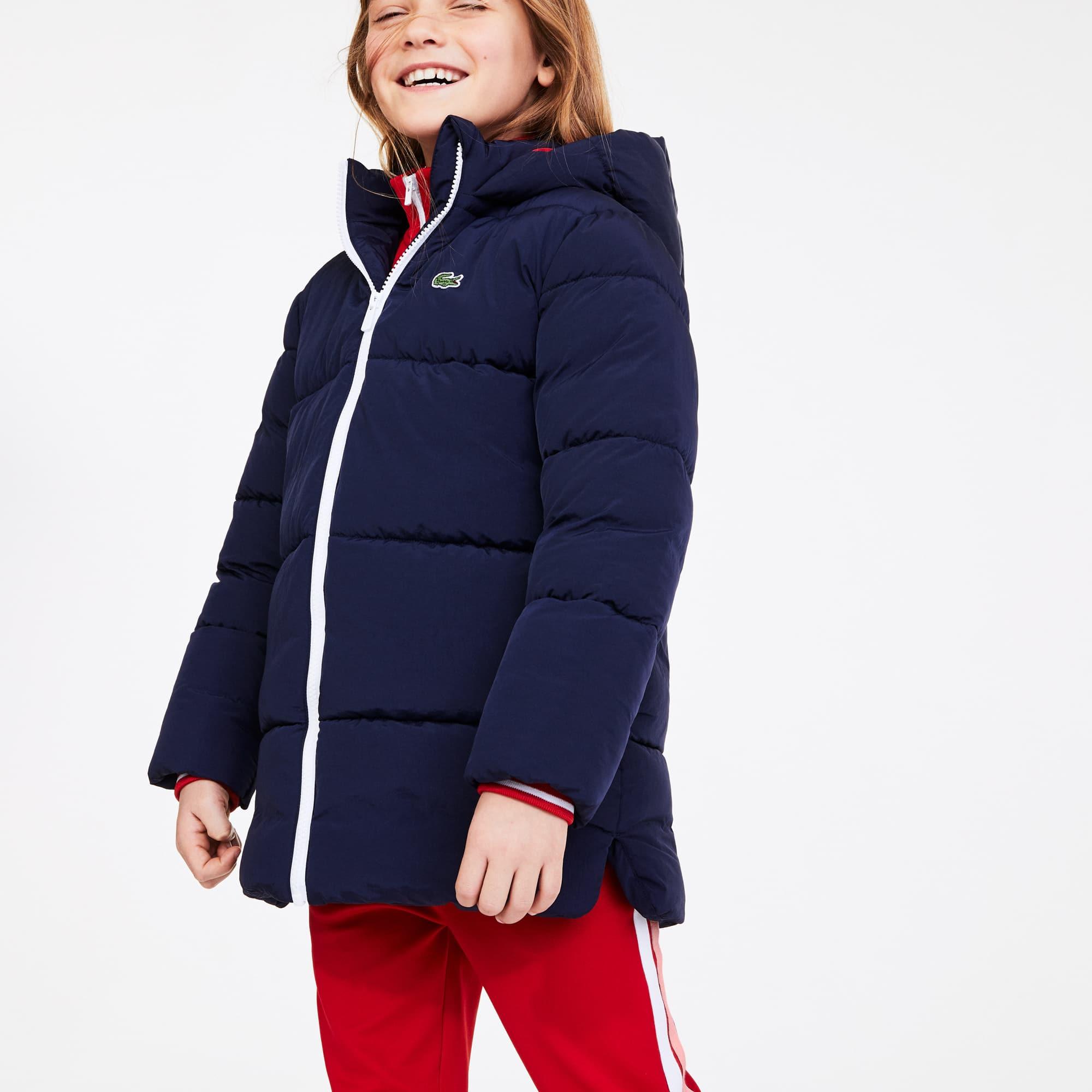 라코스테 Lacoste Girls Stand-Up Collar Zippered Hooded Jacket,Navy Blue / Red • 551