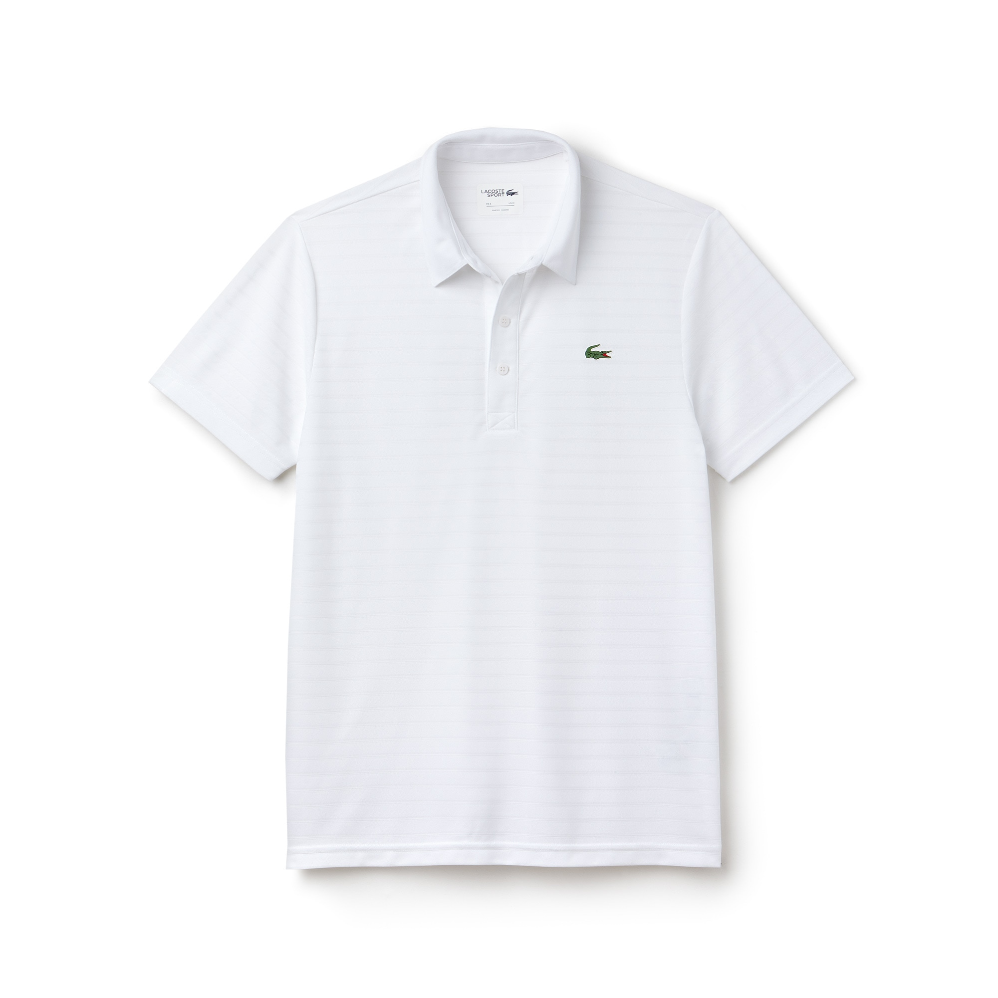 라코스테 Lacoste Mens SPORT Golf Striped Tech Jacquard Jersey Polo Shirt,white