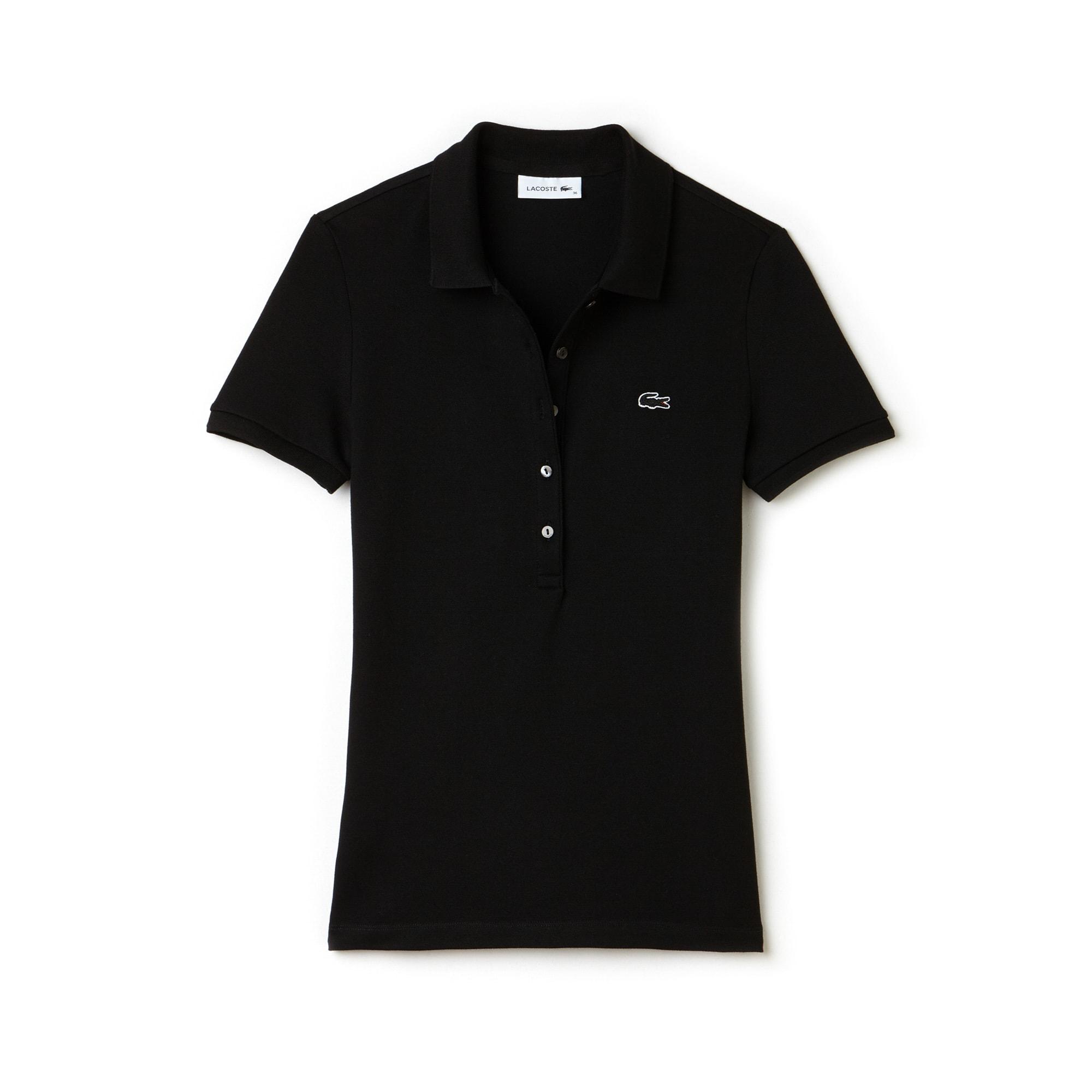 라코스테 Lacoste Womens Slim Fit Stretch Mini Cotton Pique Polo Shirt,black