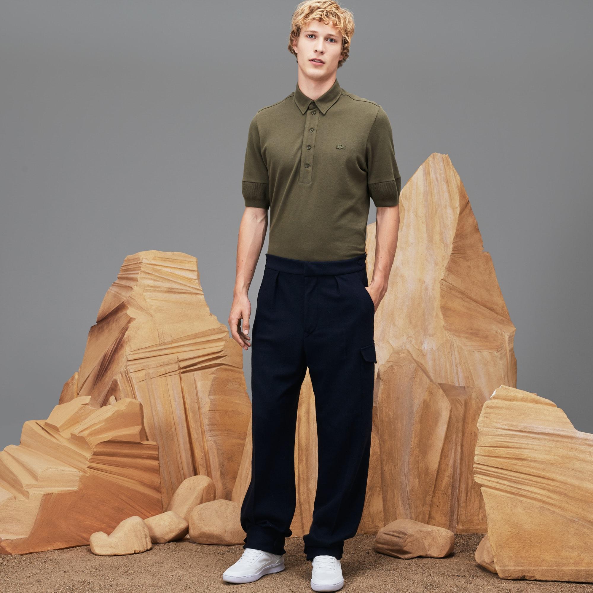 Men's Fashion Show Wide Fit Wool Interlock Knit Pants
