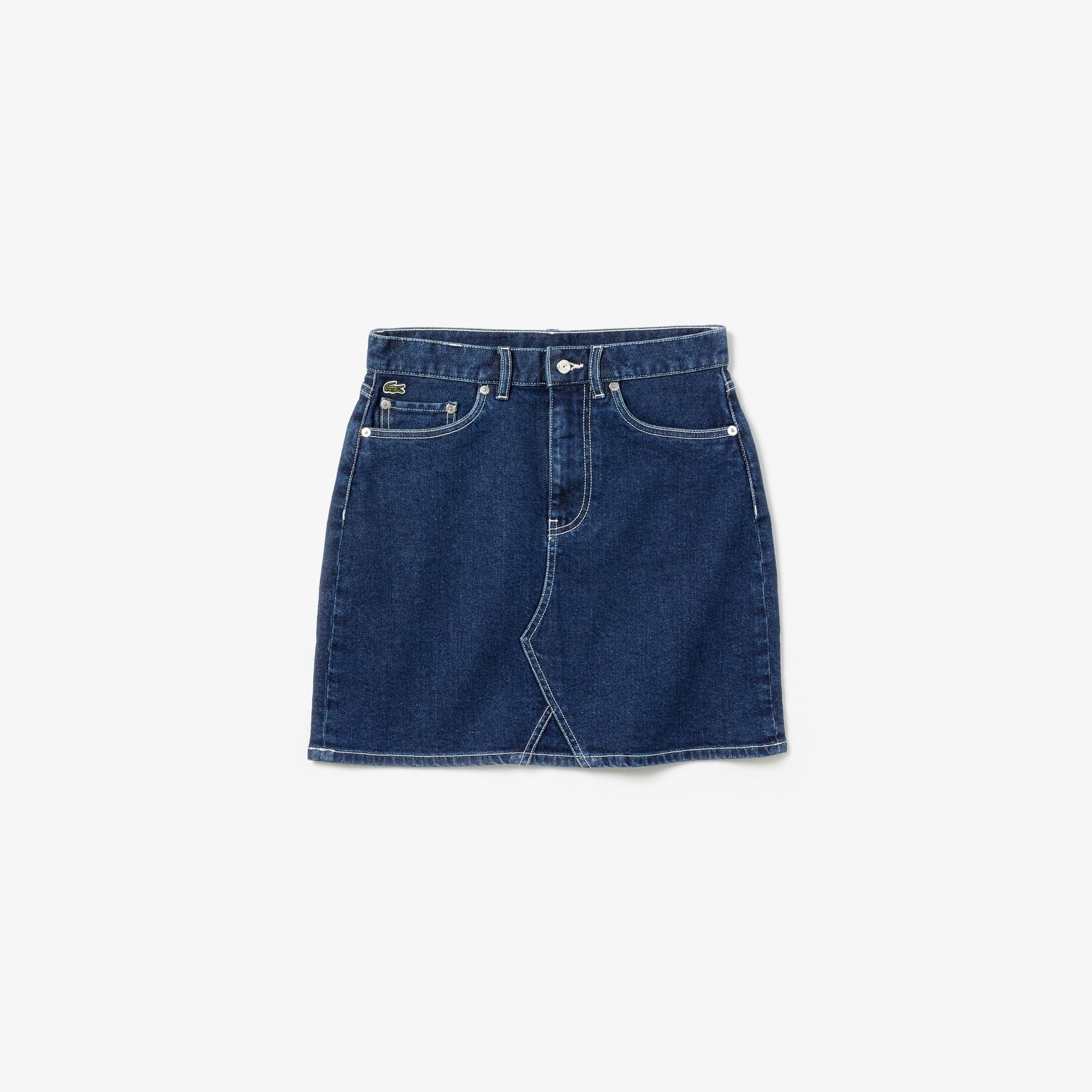 라코스테 청치마 Lacoste Womens LIVE Denim Skirt,Blue