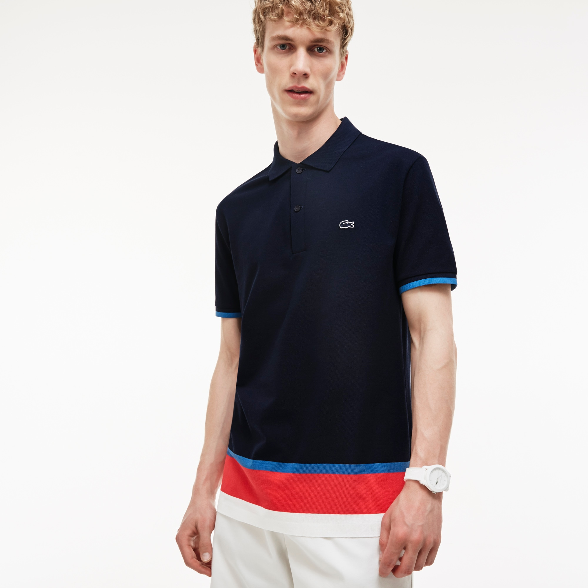 Men's Slim Fit Petit Piqué Colorblock Band Polo Shirt