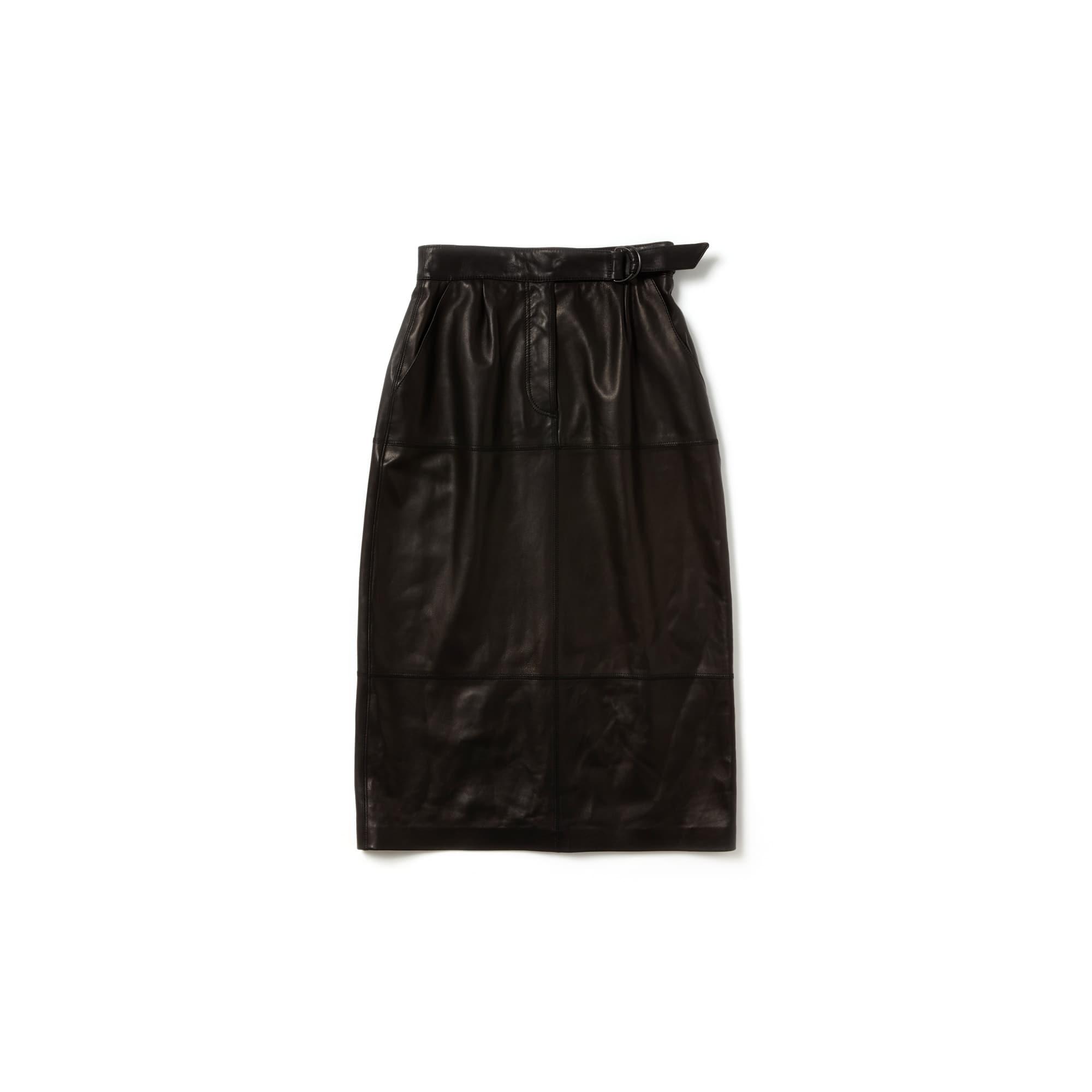 라코스테 Lacoste Womens Fashion Show High Waisted Soft Leather Skirt,Black