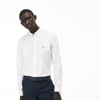라코스테 스트레치 코튼 포플린 셔츠 - 화이트 (슬림핏) Lacoste Mens Slim Fit Stretch Cotton Poplin Shirt