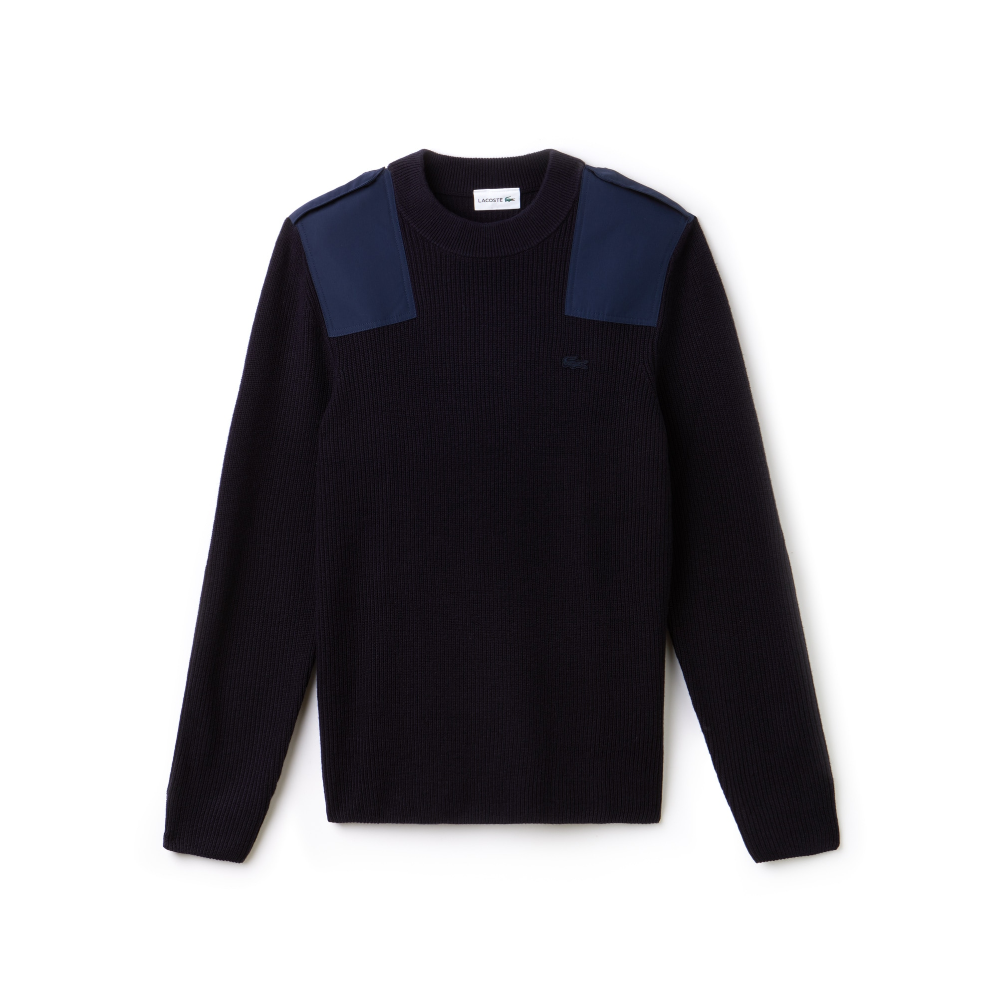 Men's Crew Neck Colorblock Ribbed Wool And Cotton Sweater