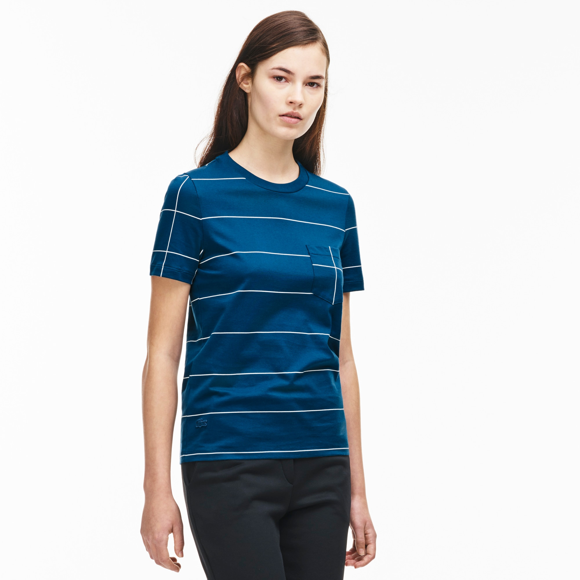 Women's Windowpane Print Cotton T-Shirt