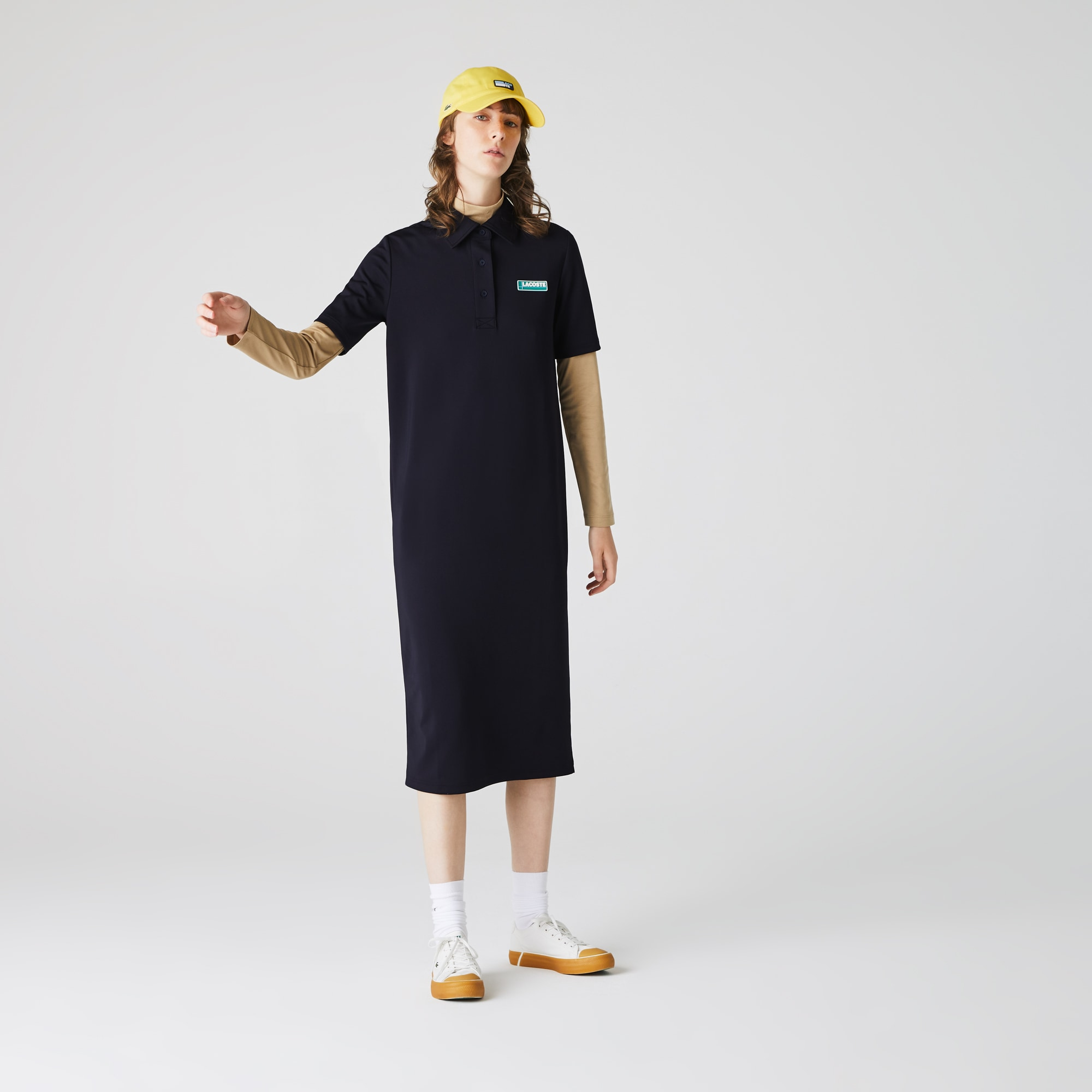 Lacoste Womens LIVE Straight Cut Badge Flowing Polo Dress