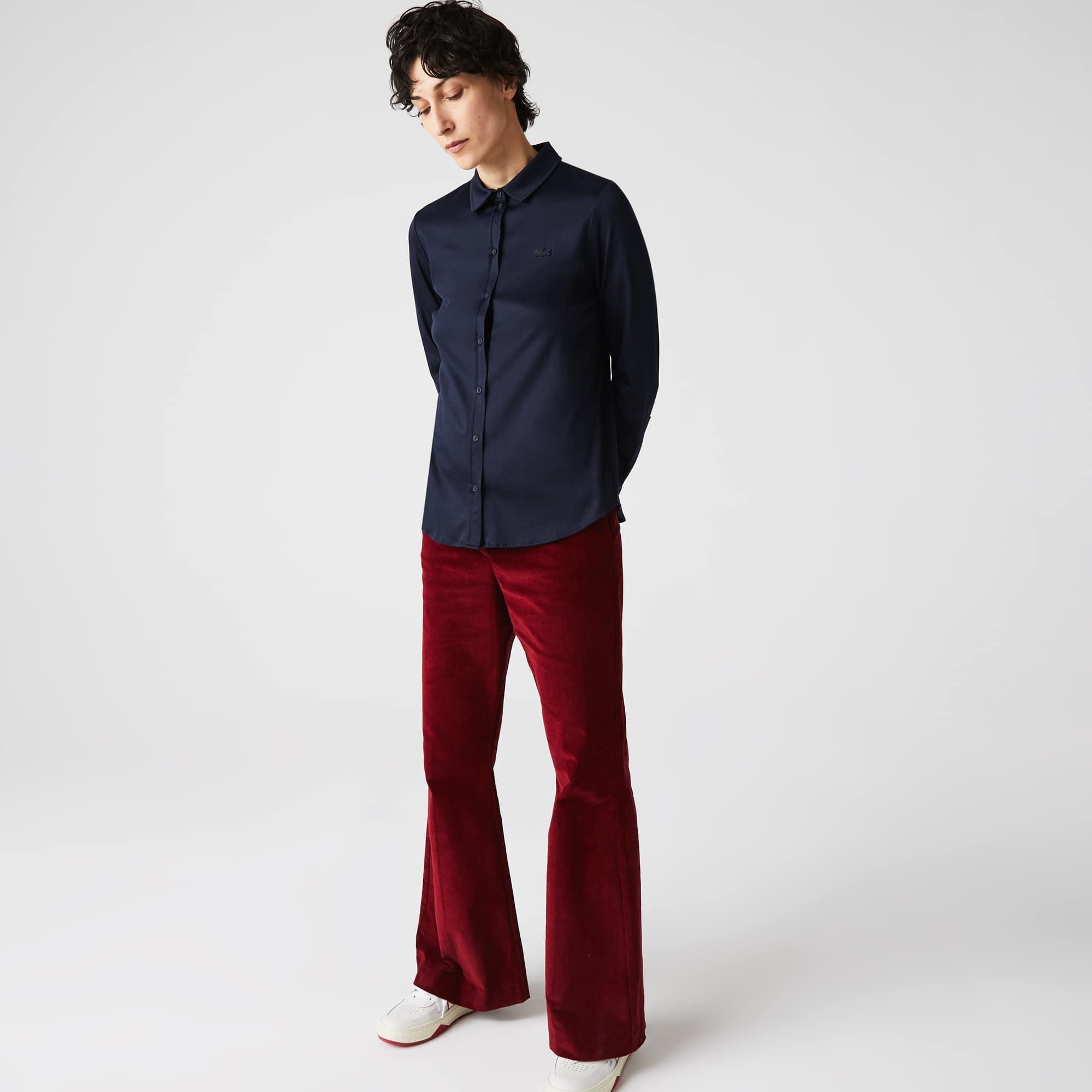 라코스테 우먼 루즈핏 셔츠 스타일 폴로 Womens  Lacoste Loose Fit Shirt Style Pima Cotton Polo,Navy Blue 166