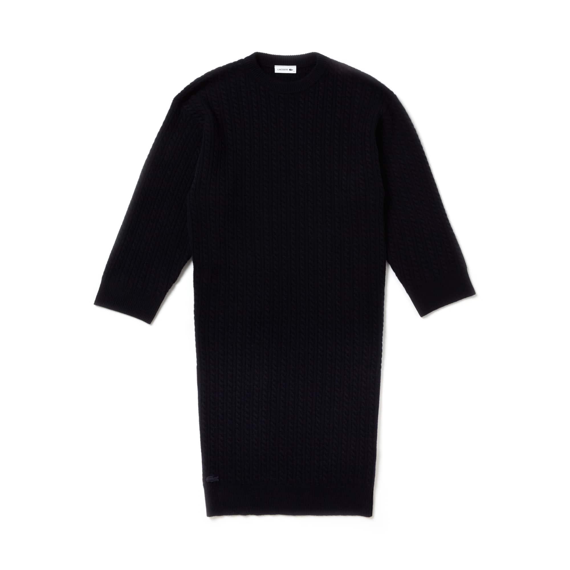 라코스테 Lacoste Womens Fashion Show Oversized Wool And Cashmere Sweater Dress,코스 COSMOS