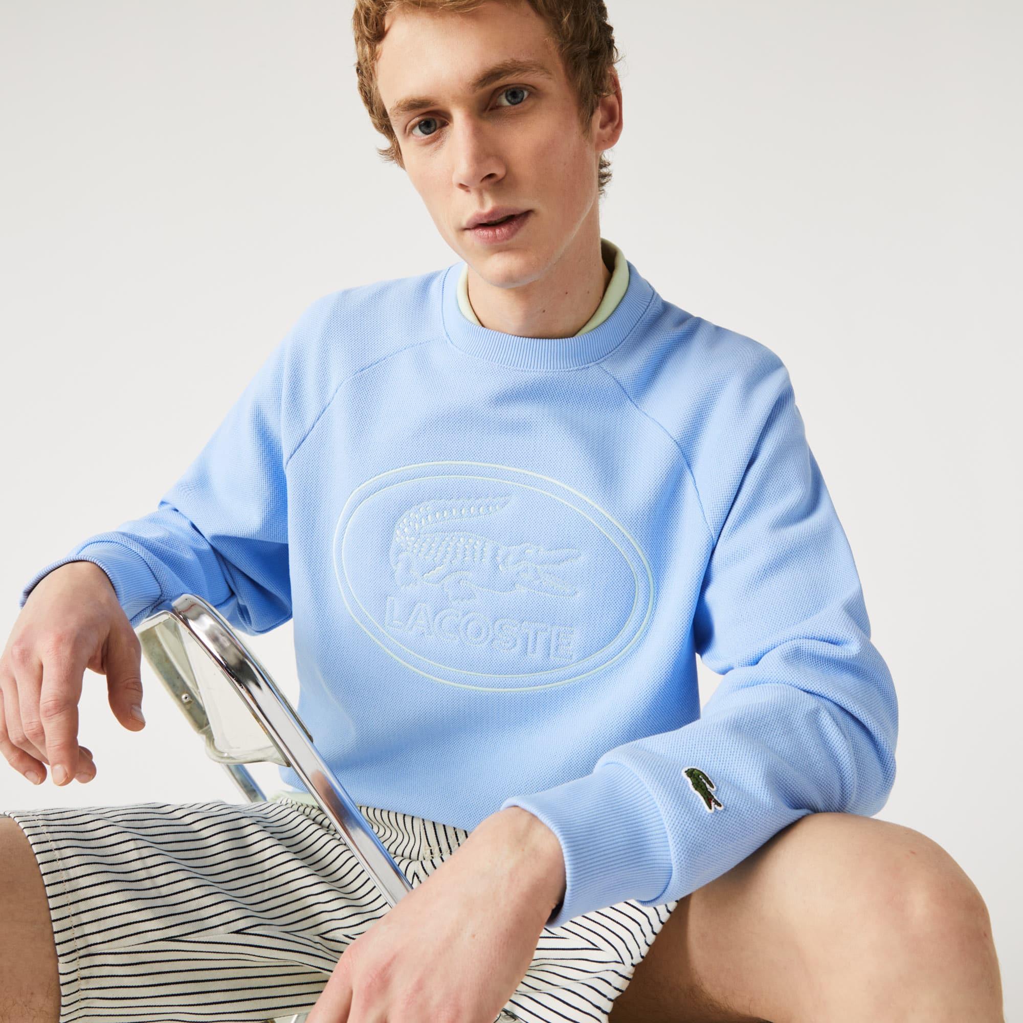 라코스테 Lacoste Men's Crew Neck Embroidered Sweatshirt