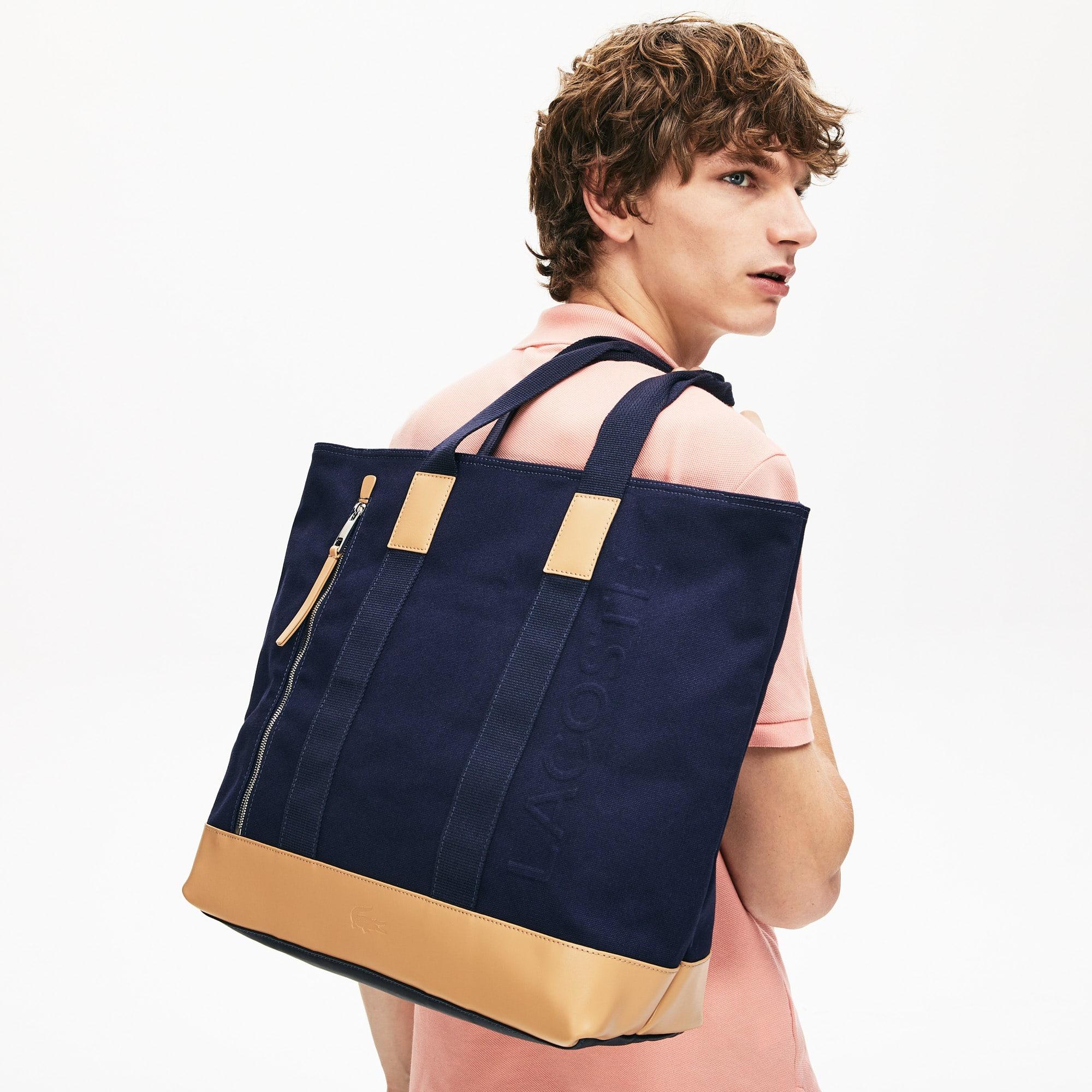 라코스테 토트백 Lacoste Classic Leather and Canvas Tote Bag,PEACOAT TAN E75