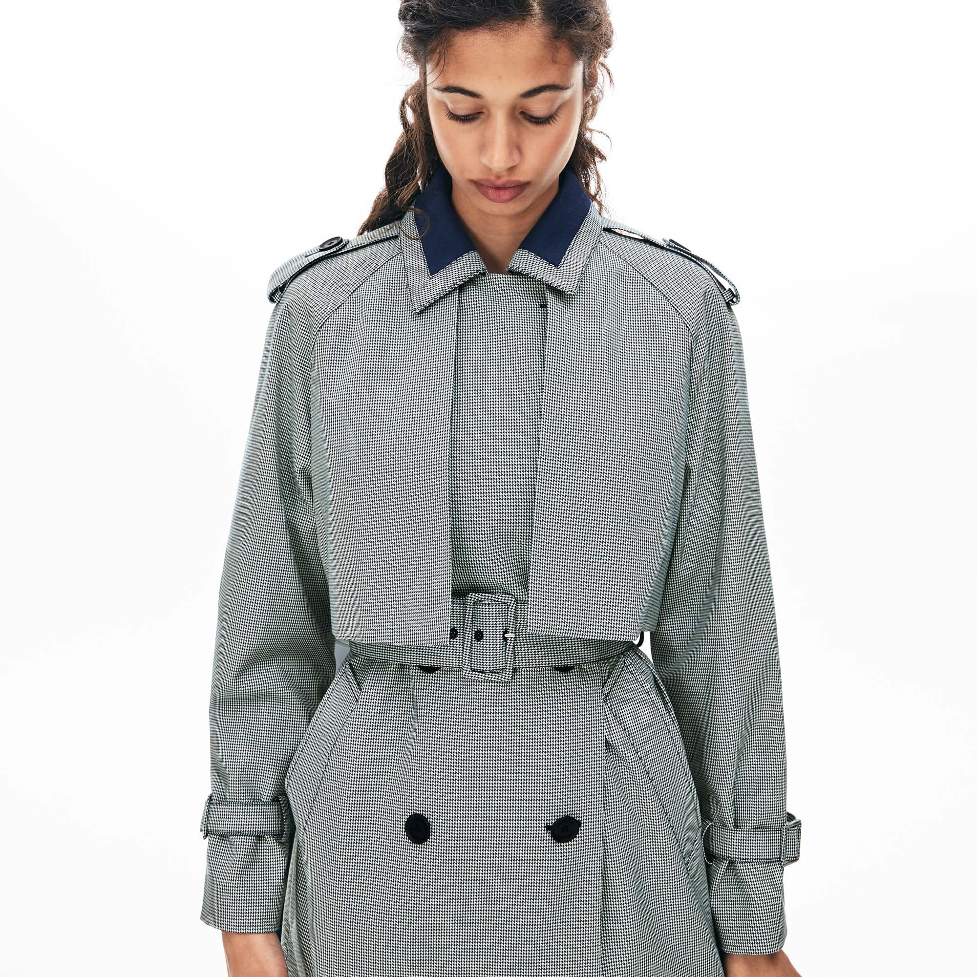 Women's Belted Check-Print Canvas Trench Coat