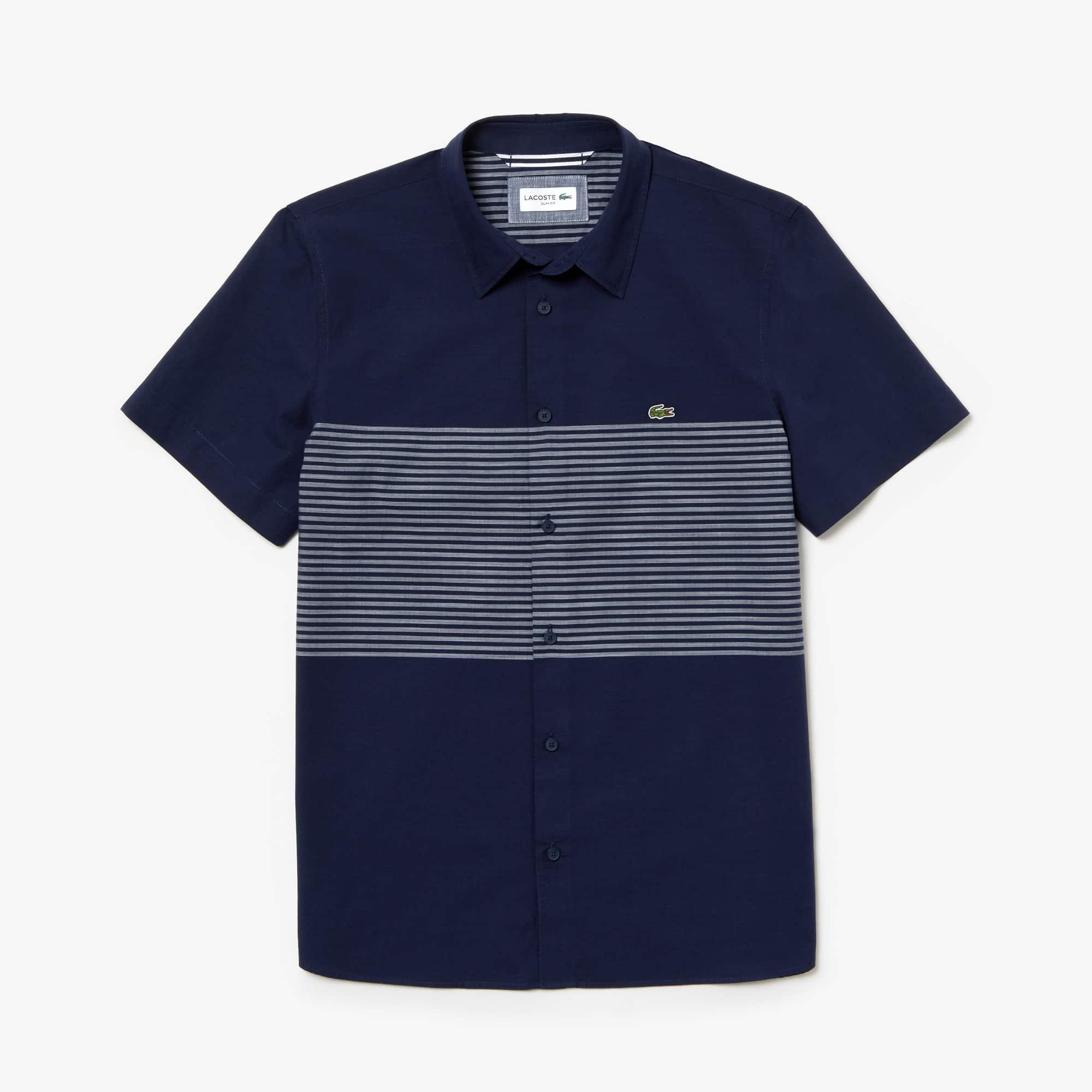 라코스테 Lacoste Mens Slim Fit Striped Cotton Poplin Shirt,navy blue / white