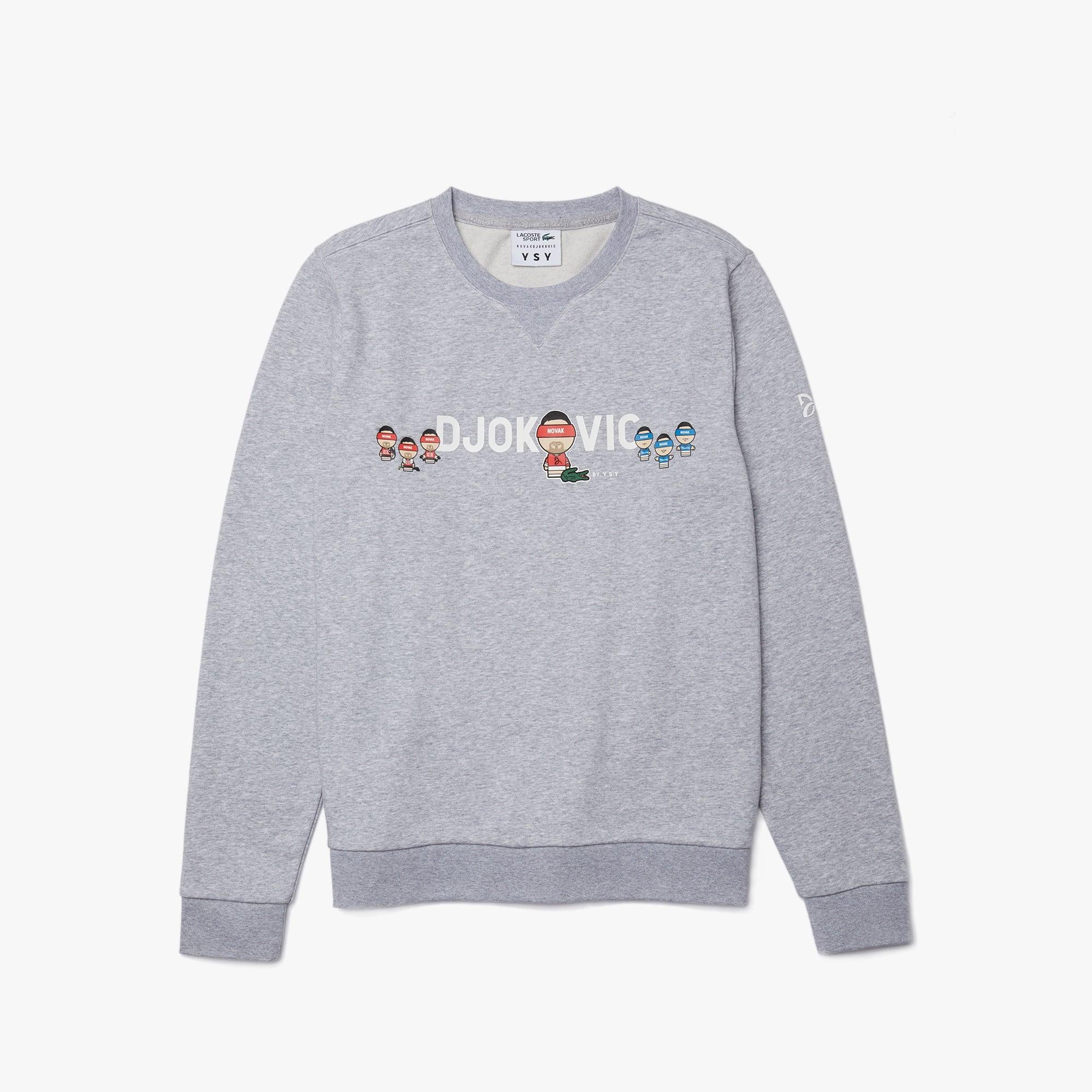 라코스테 X YSY 콜라보 노박 조코비치 맨투맨 - 그레이 Mens Lacoste SPORT Collab Youssef SY In Fleece Sweatshirt