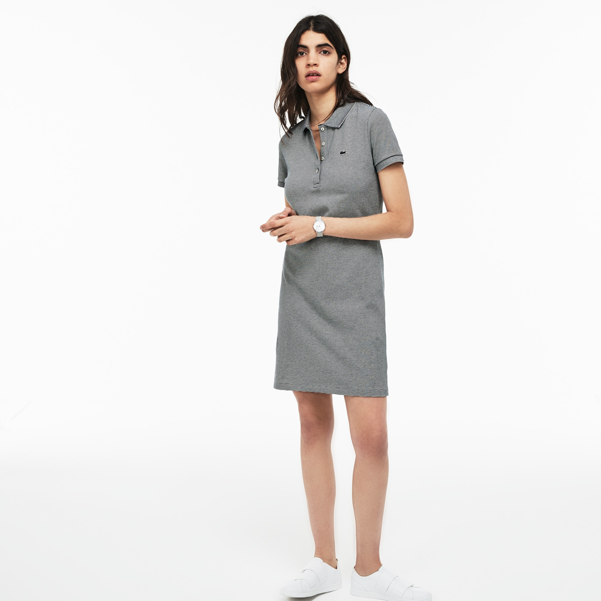586be63db4 WOMEN'S SLIM FIT PINSTRIPED STRETCH MINI PIQUÉ POLO DRESS