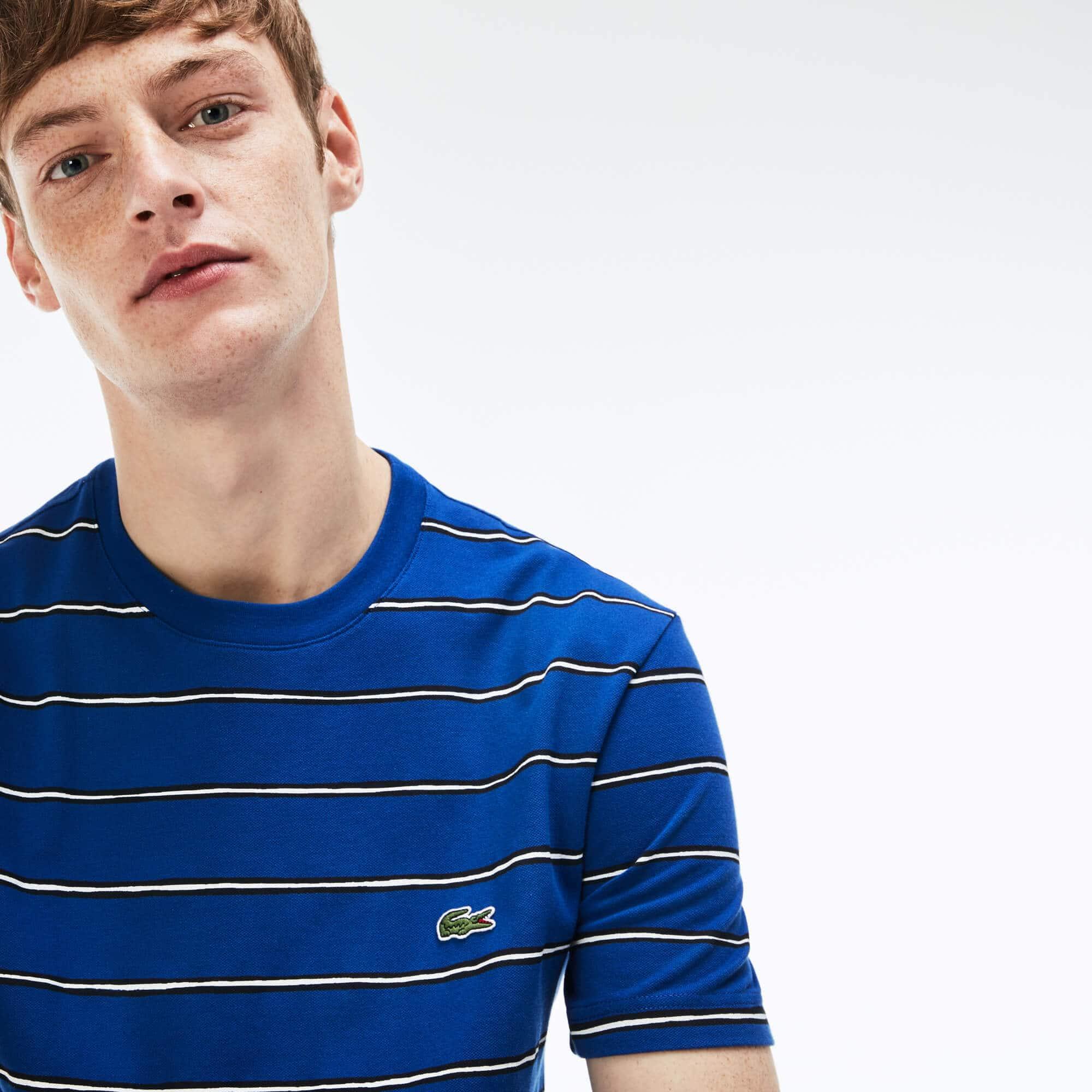 Men's Striped Print Mini Piqué T-Shirt