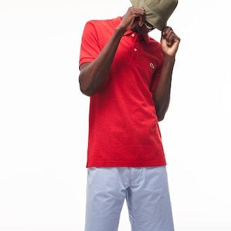라코스테 Lacoste Mens Petit Pique Slim Fit Polo Shirt,Red - 9QA