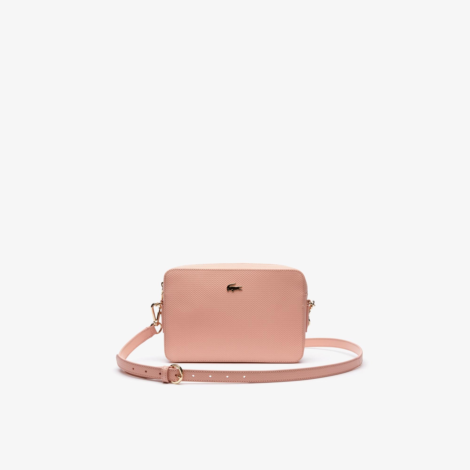 라코스테 Lacoste Womens Chantaco Pique Leather Square Shoulder Bag,mellow rose