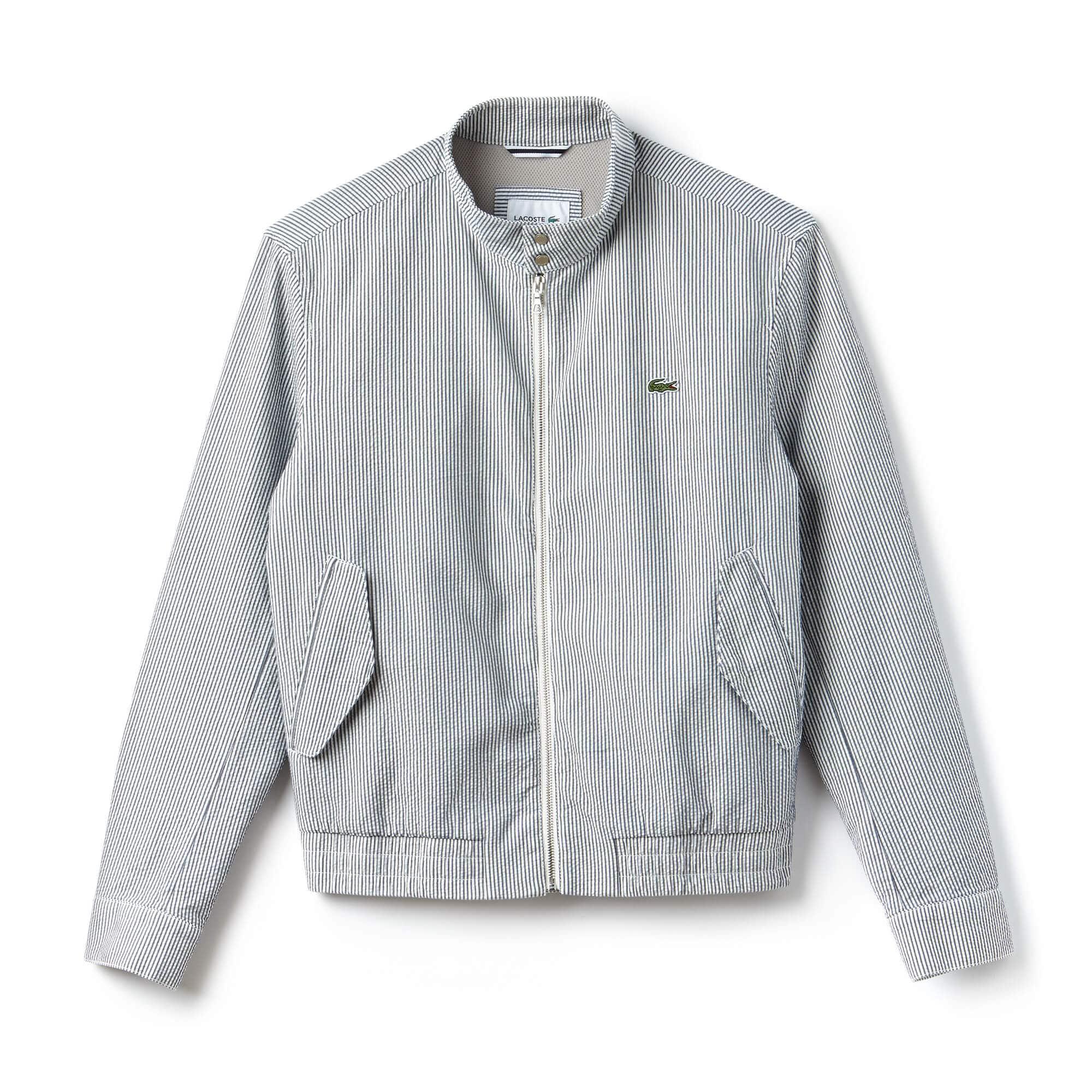 Men's Short Striped Seersucker Zip Jacket