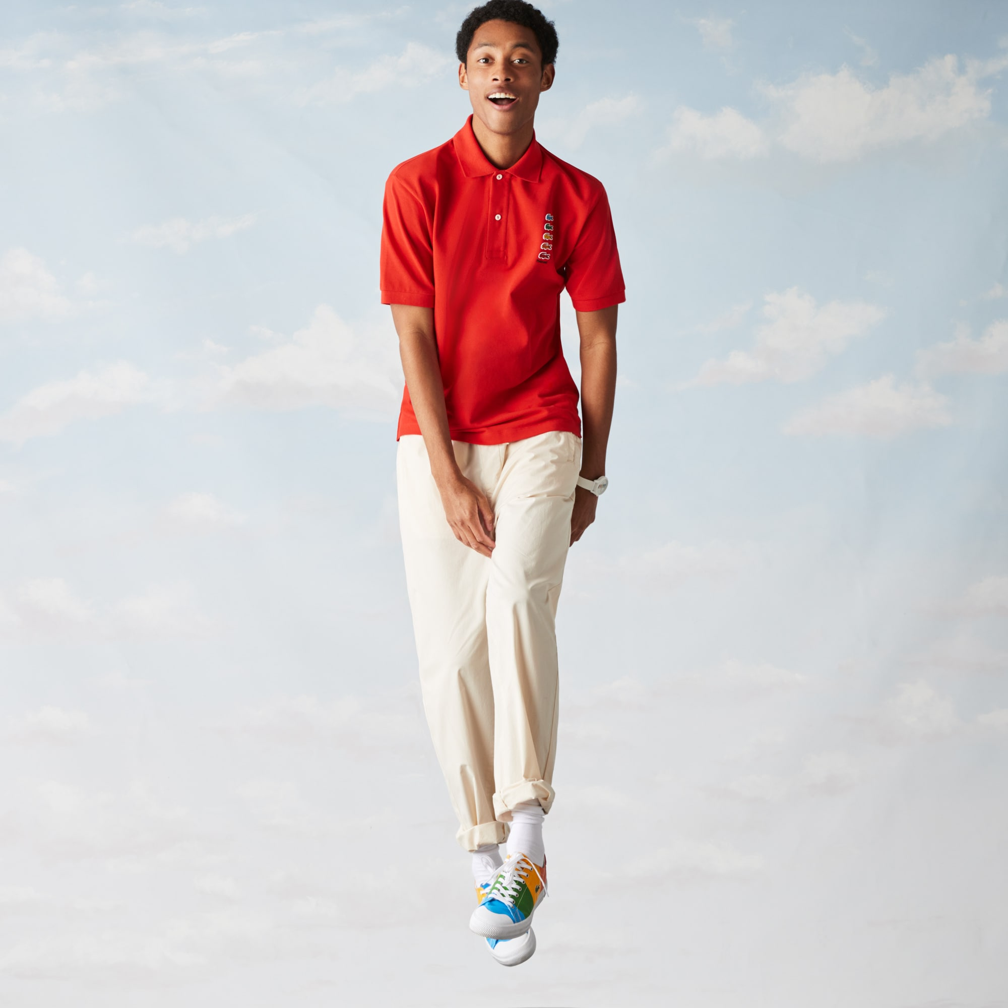 라코스테 Lacoste Men's Polaroid Collaboration Mutlicolor Crocodiles Classic Fit Polo
